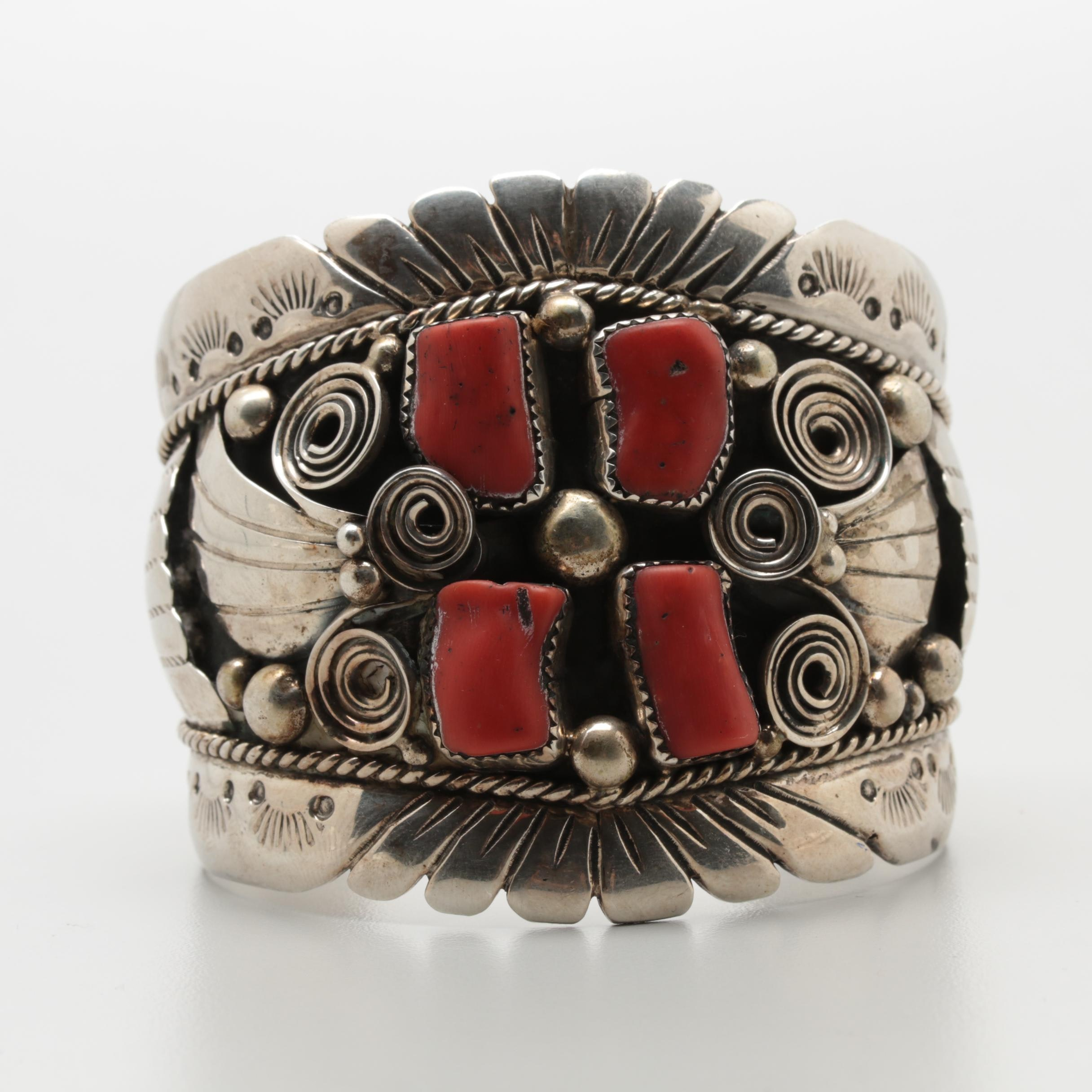 Southwestern Style Sterling Silver Coral and Applique Work Cuff Bracelet