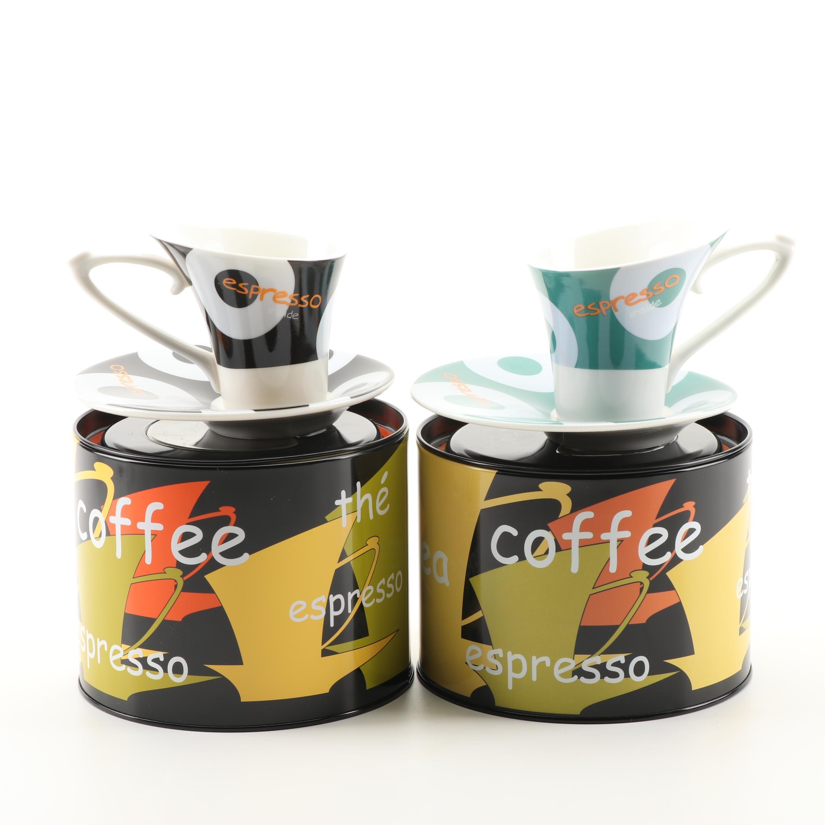 Cilio Ceramic Espresso Cups and Saucers