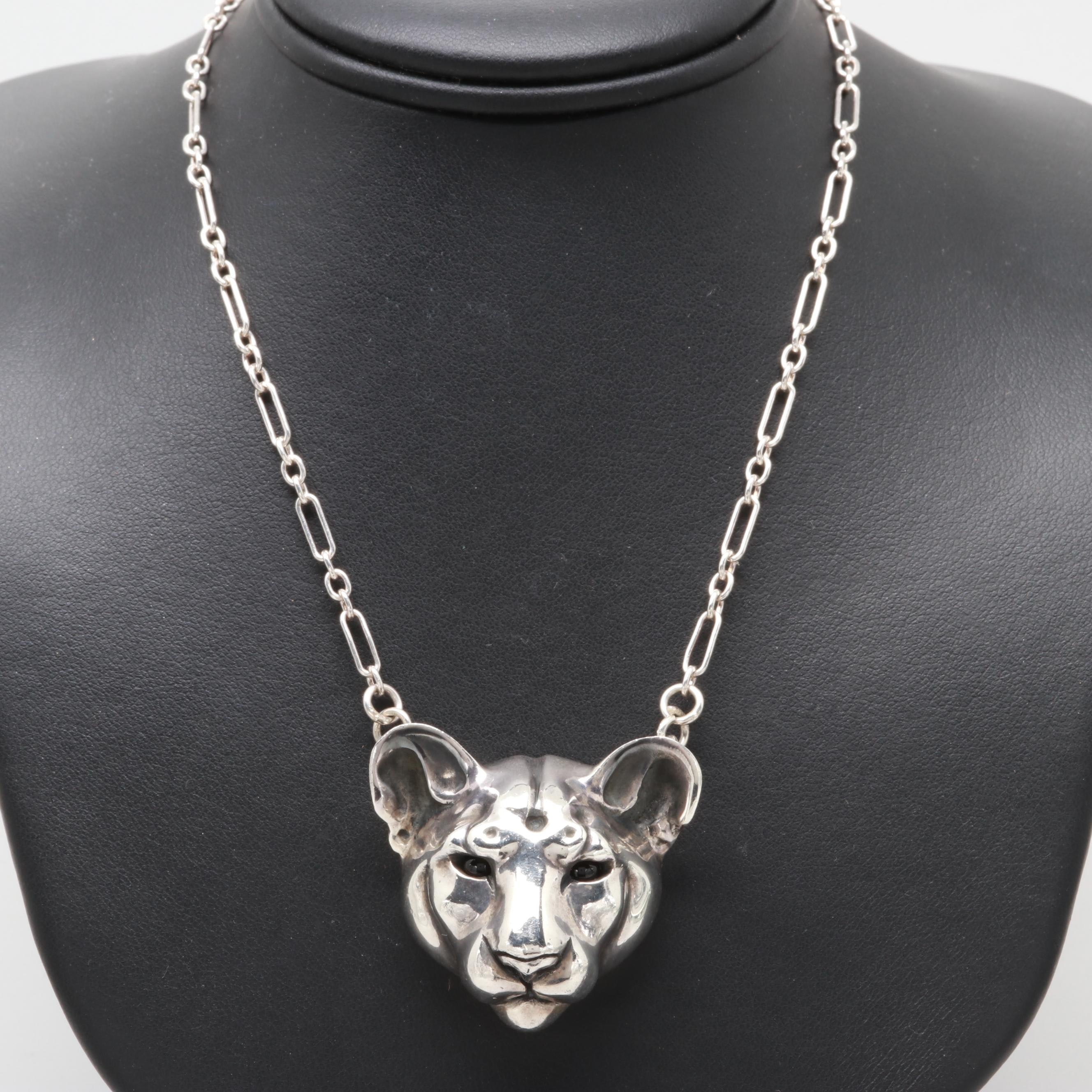 Brooke Stone Sterling Silver Black Onyx Mountain Lion Totem Necklace