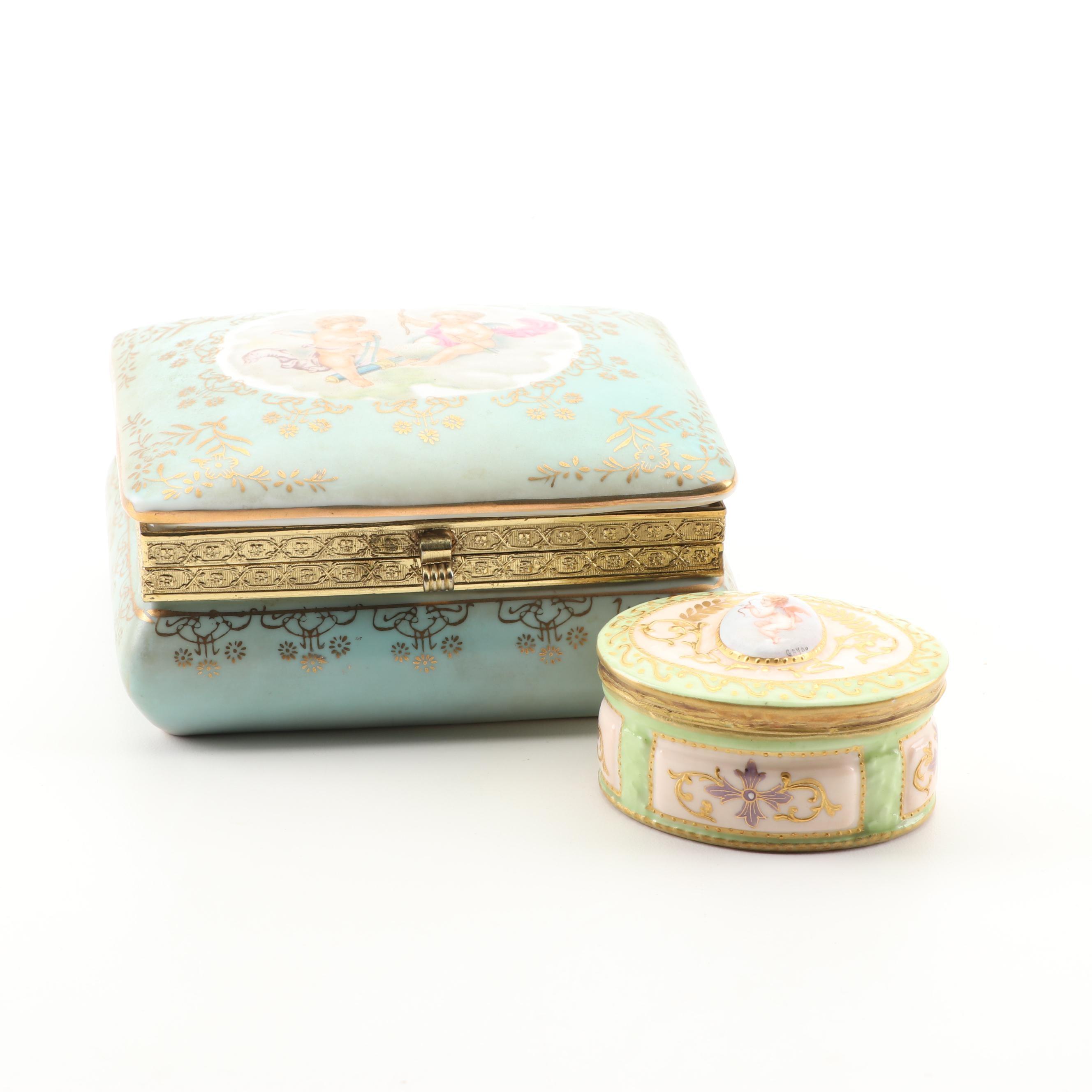 Sèvres Style Porcelain Trinket Boxes