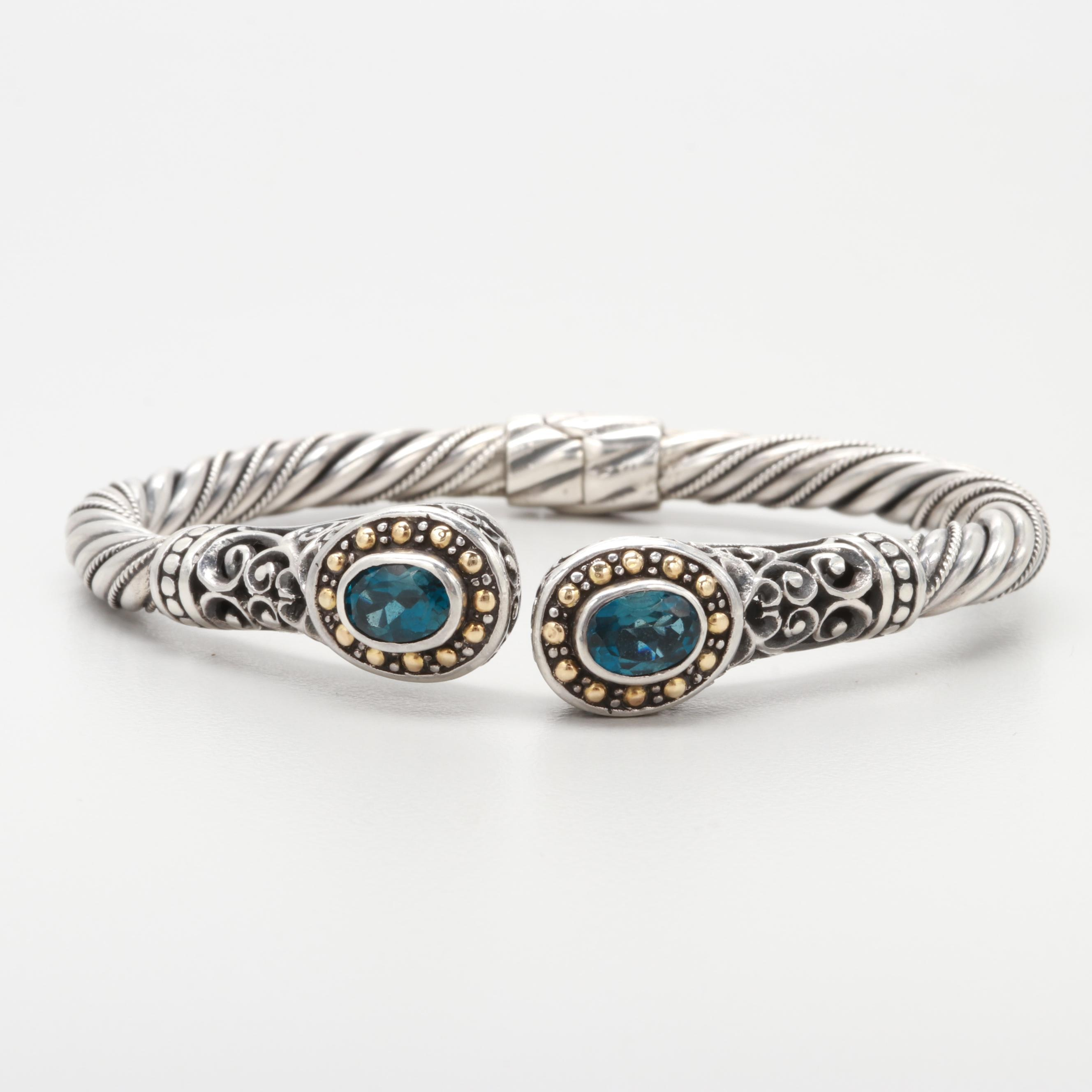 Robert Manse Sterling Silver Blue Topaz Bracelet With 18K Yellow Gold Accents