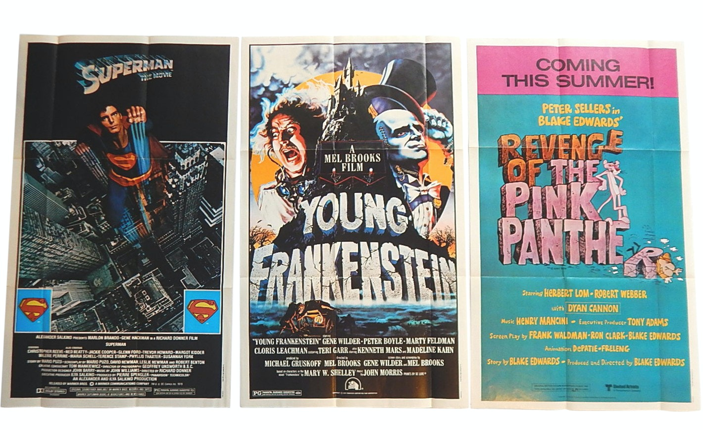 "1981 Topps Fold-Out 12""x 20"" Movie Posters with ""Superman"", ""Pink Panther"""