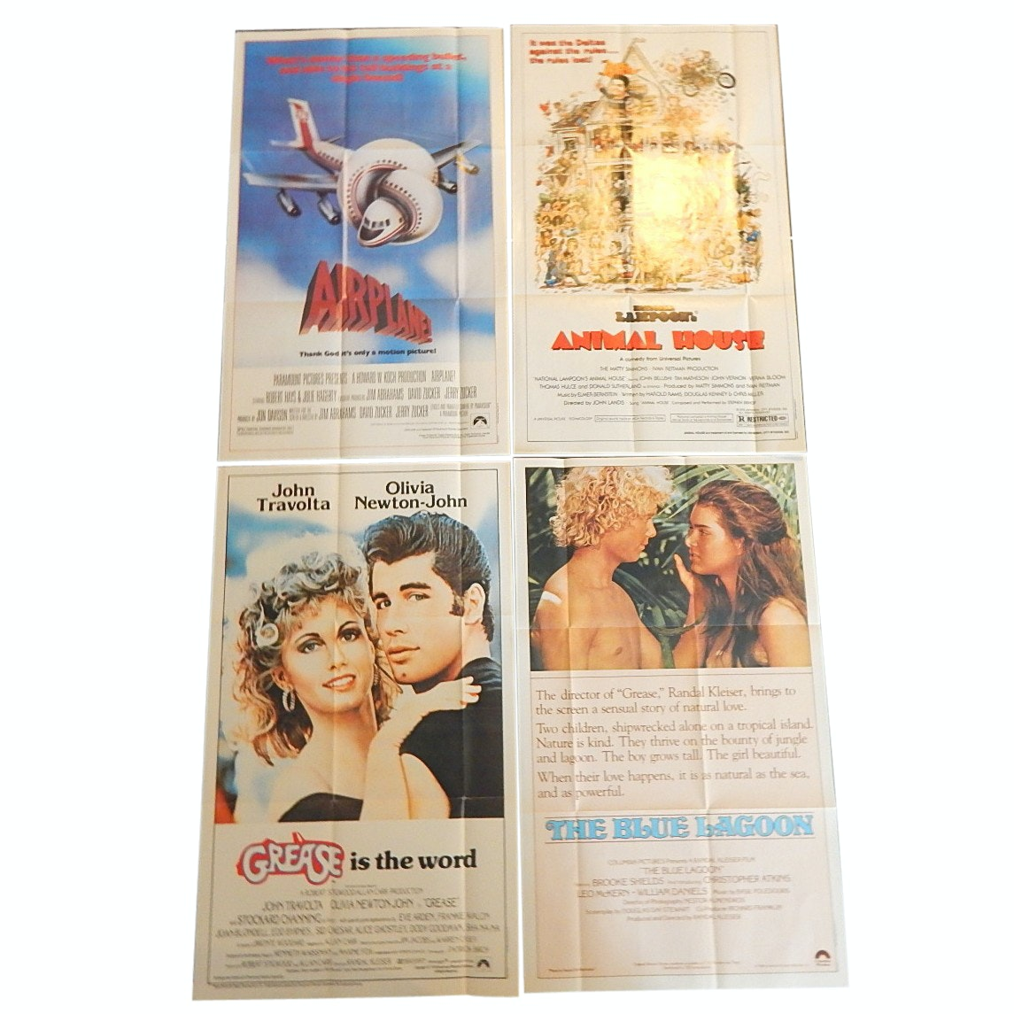 "1980s Topps Fold-Out Movie Posters with ""Grease"", ""Airplane"", ""Animal House"""