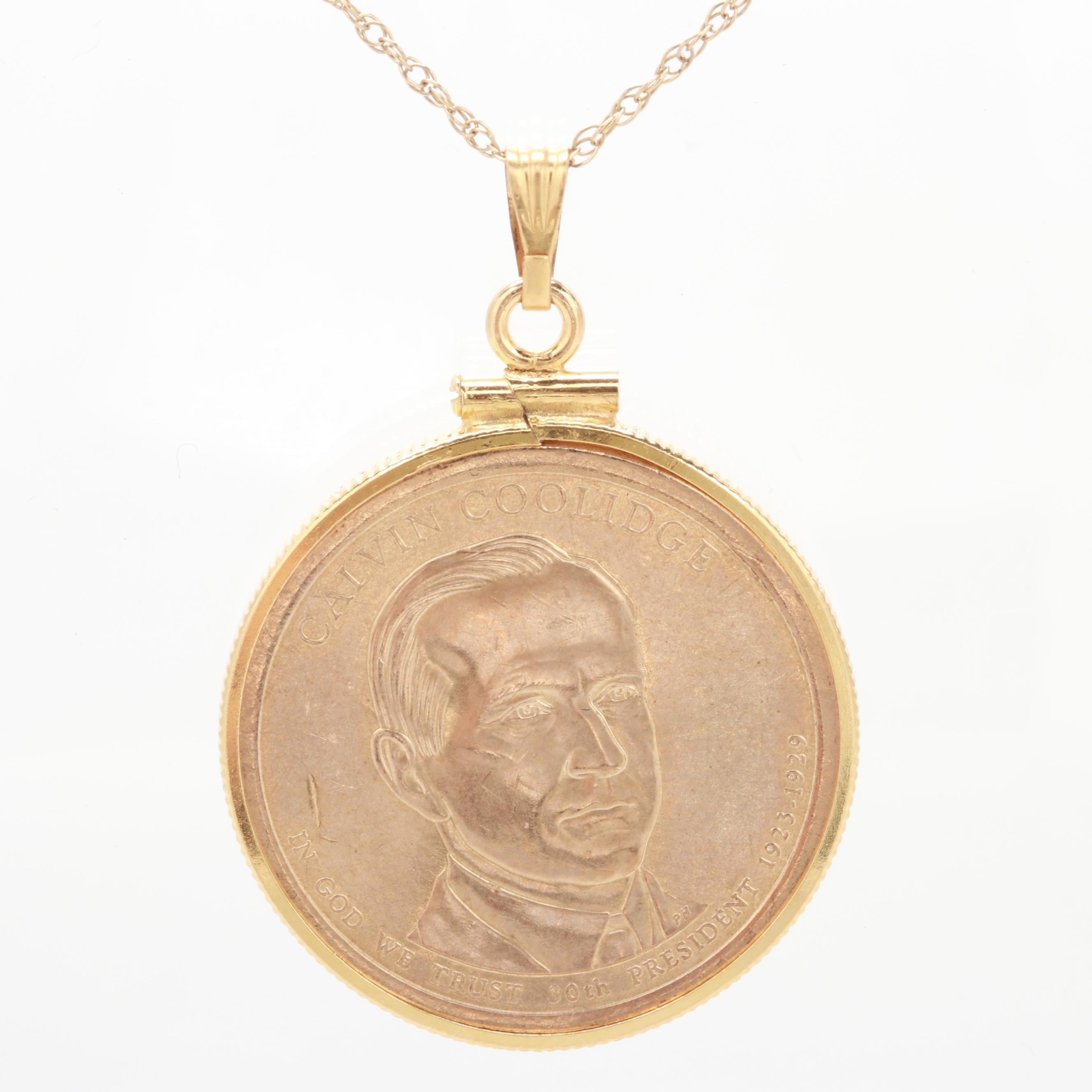 Gold Tone Pendant Necklace with 2014 Calvin Coolidge Presidential Dollar
