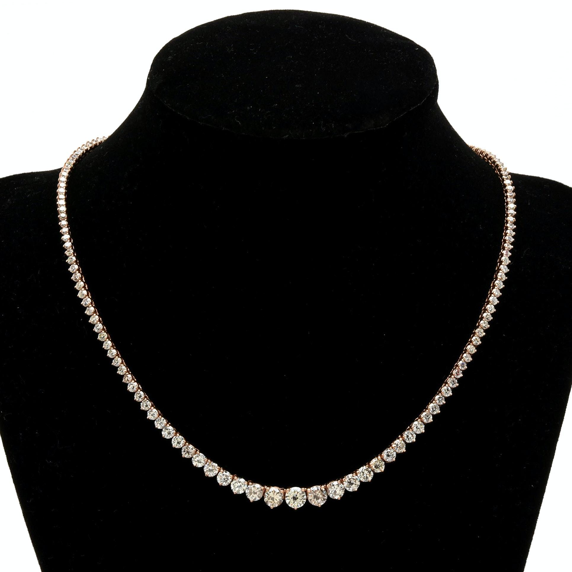 14K Rose Gold 10.16 CTW Diamond Rivière Necklace