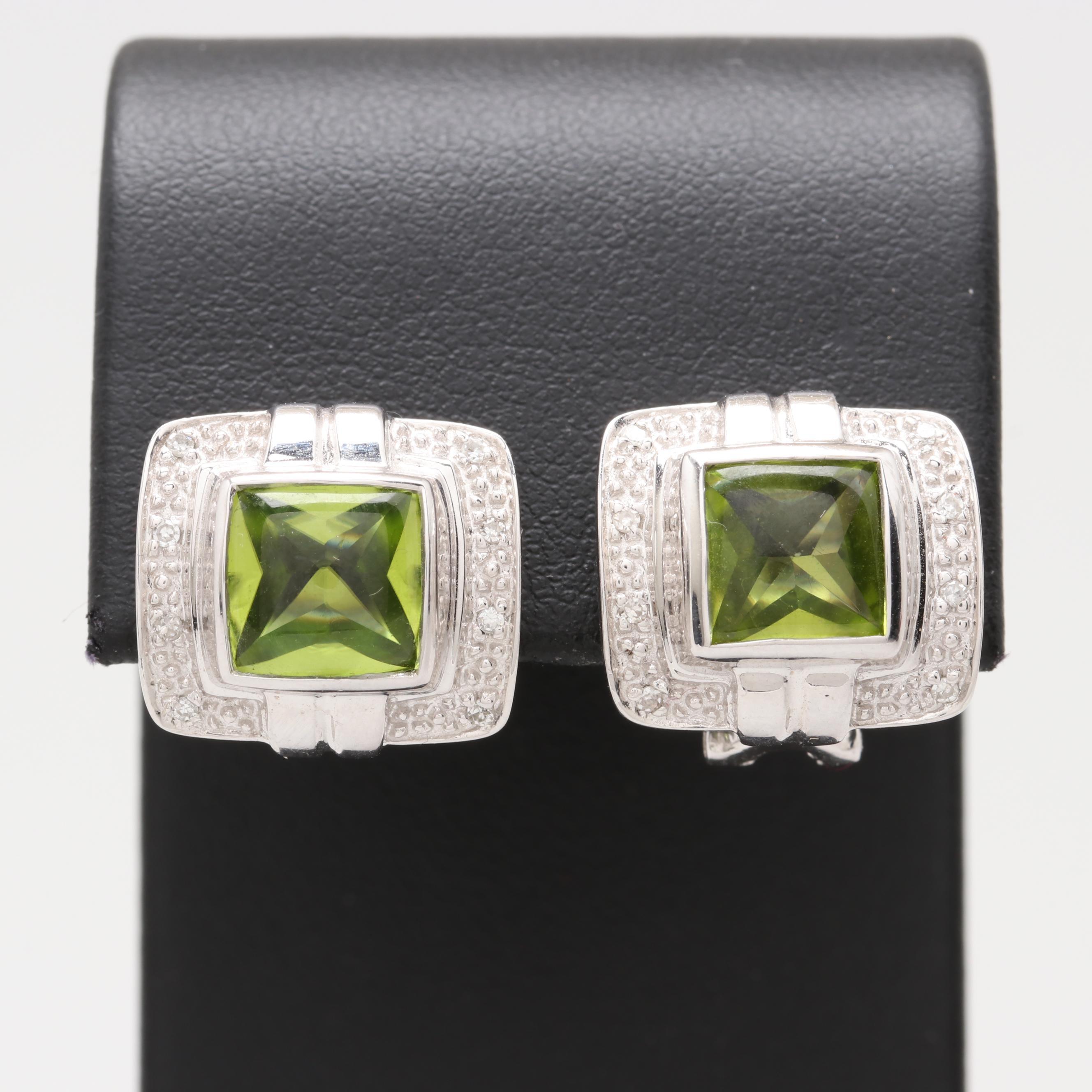 14K White Gold Peridot and Diamond Earrings
