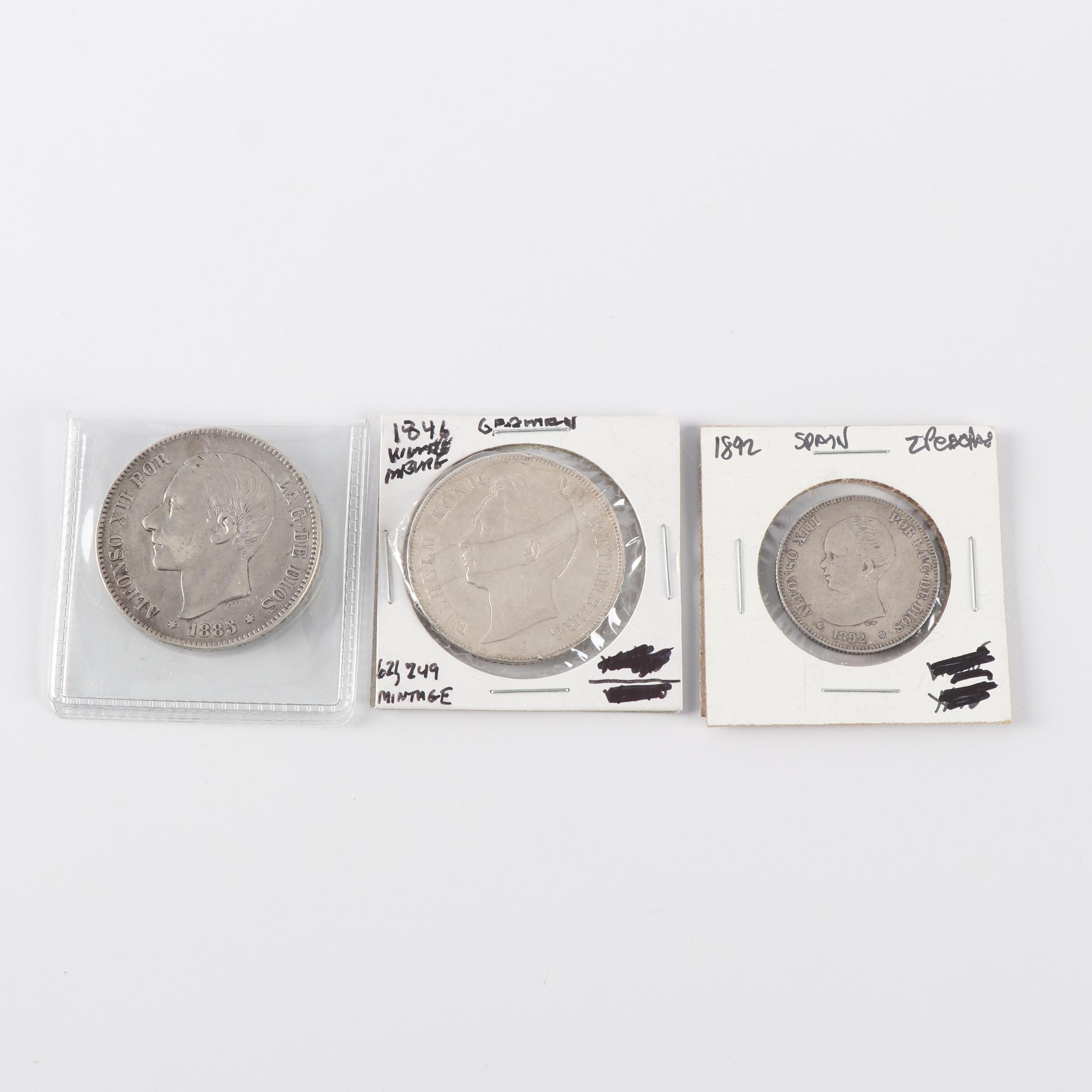 Three 19th Century Foreign Silver Coins