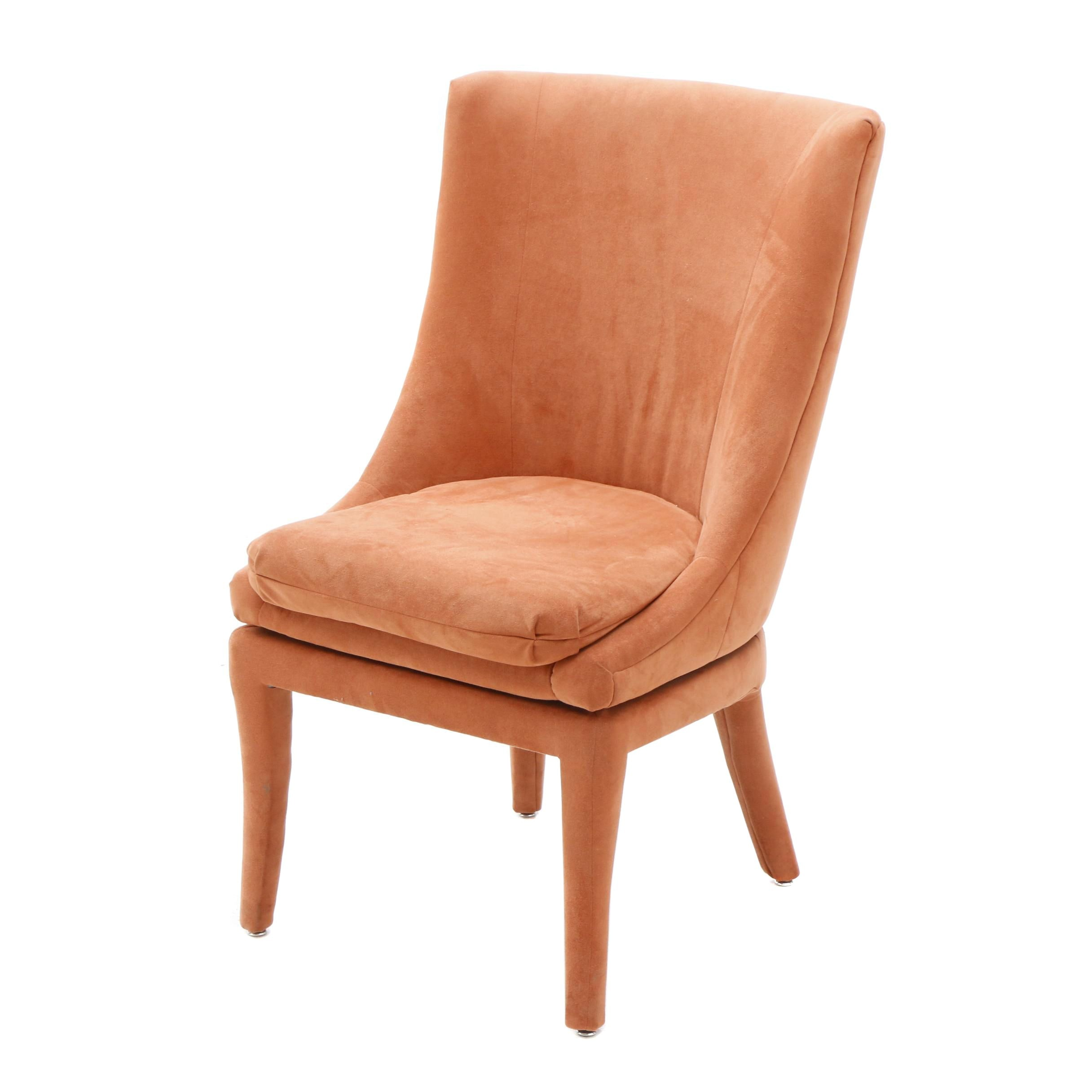 Orange Upholstered Swivel Chair