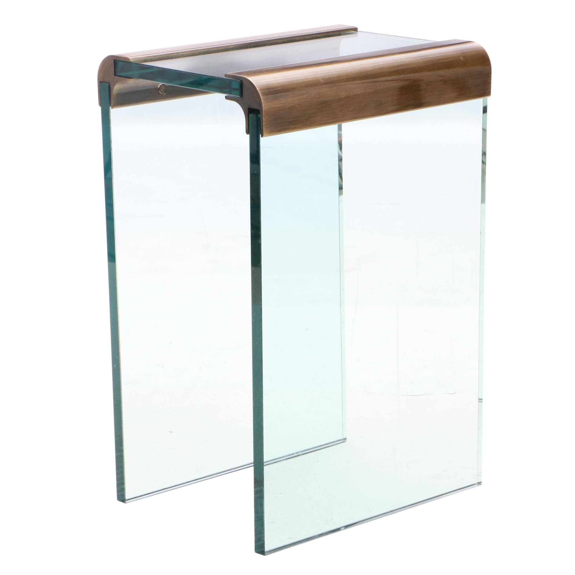 Tempered Glass Waterfall End Table