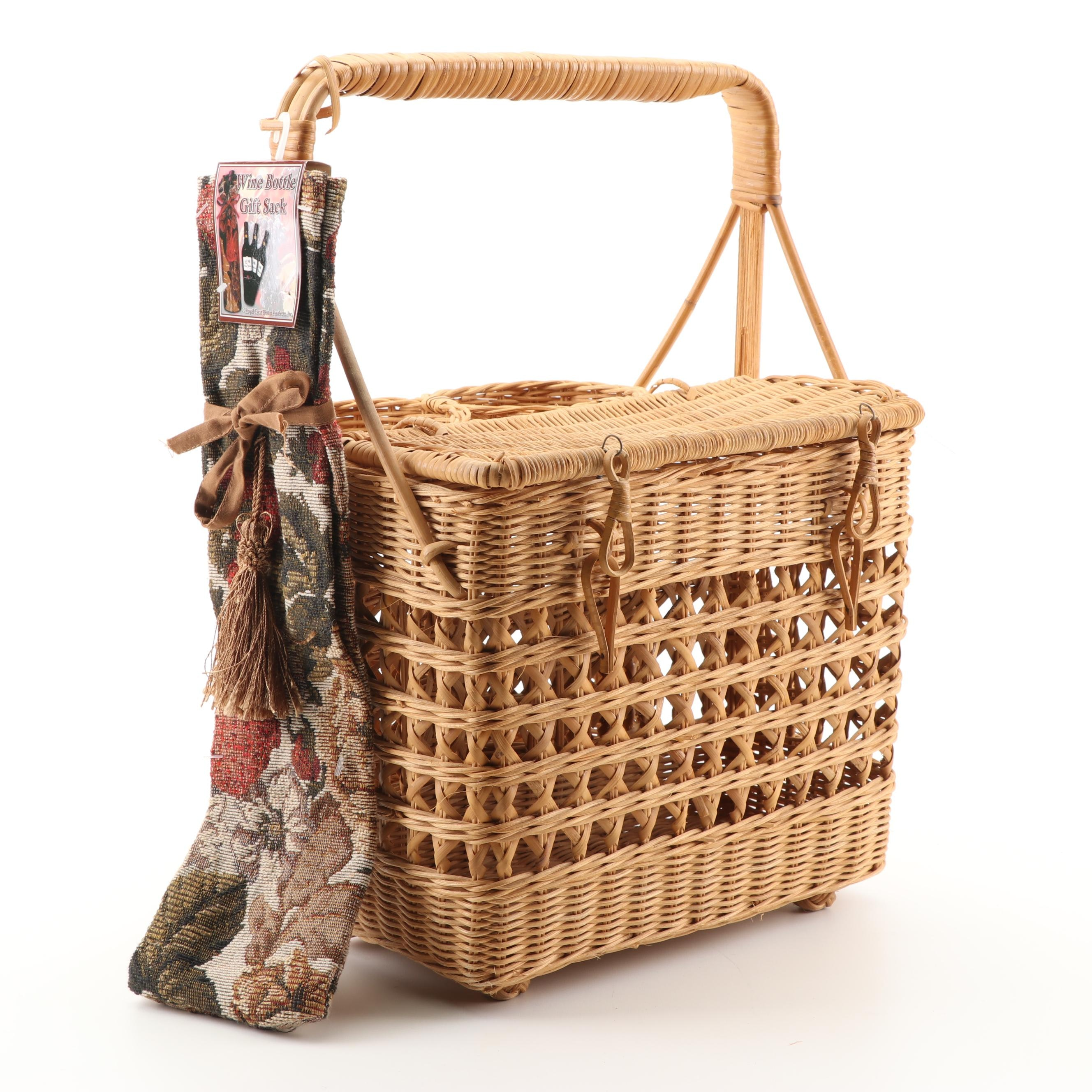 Wicker Weave Basket with Wine Bottle Gift Sack by Royal Crest Home Products