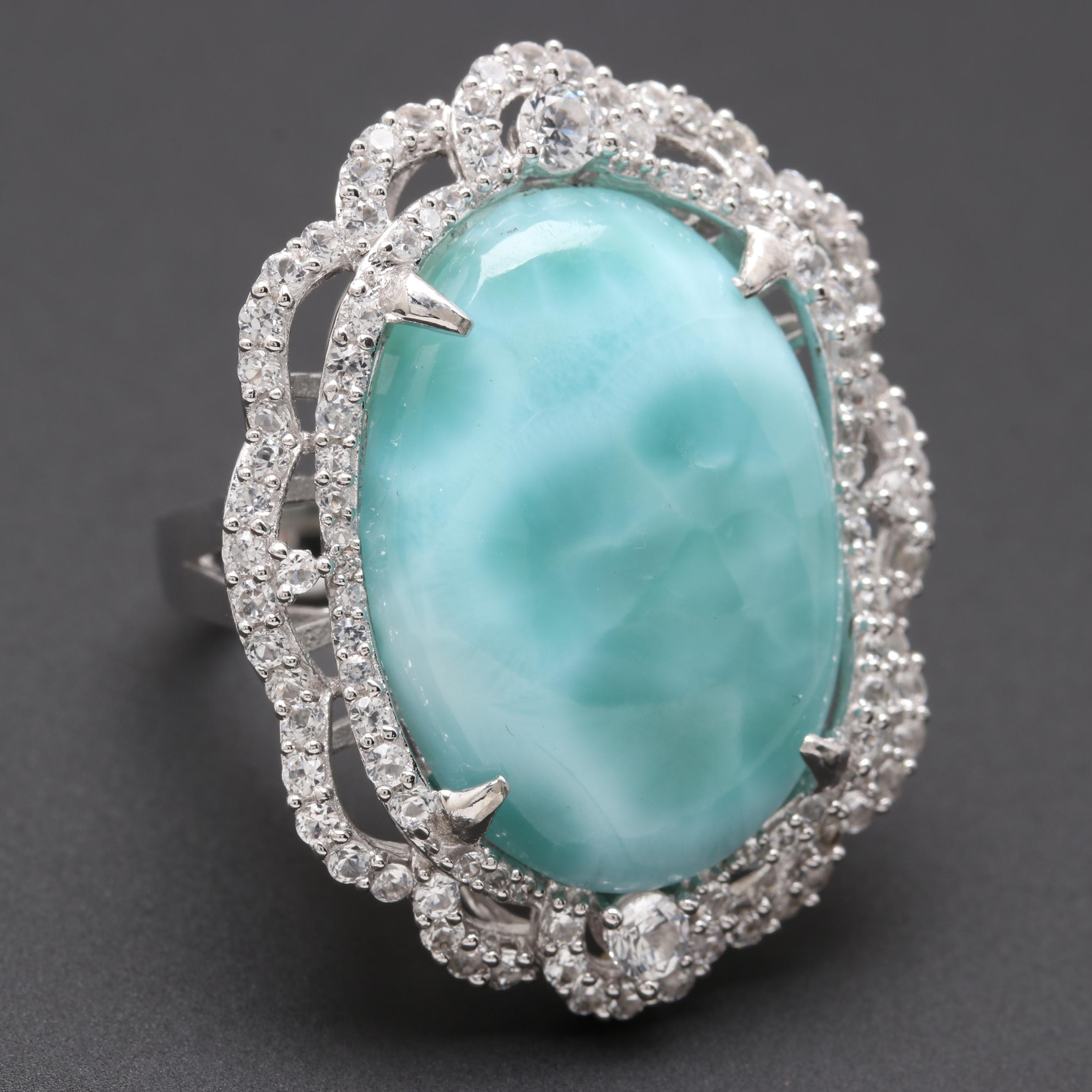 Sterling Silver Larimar and White Sapphire Ring