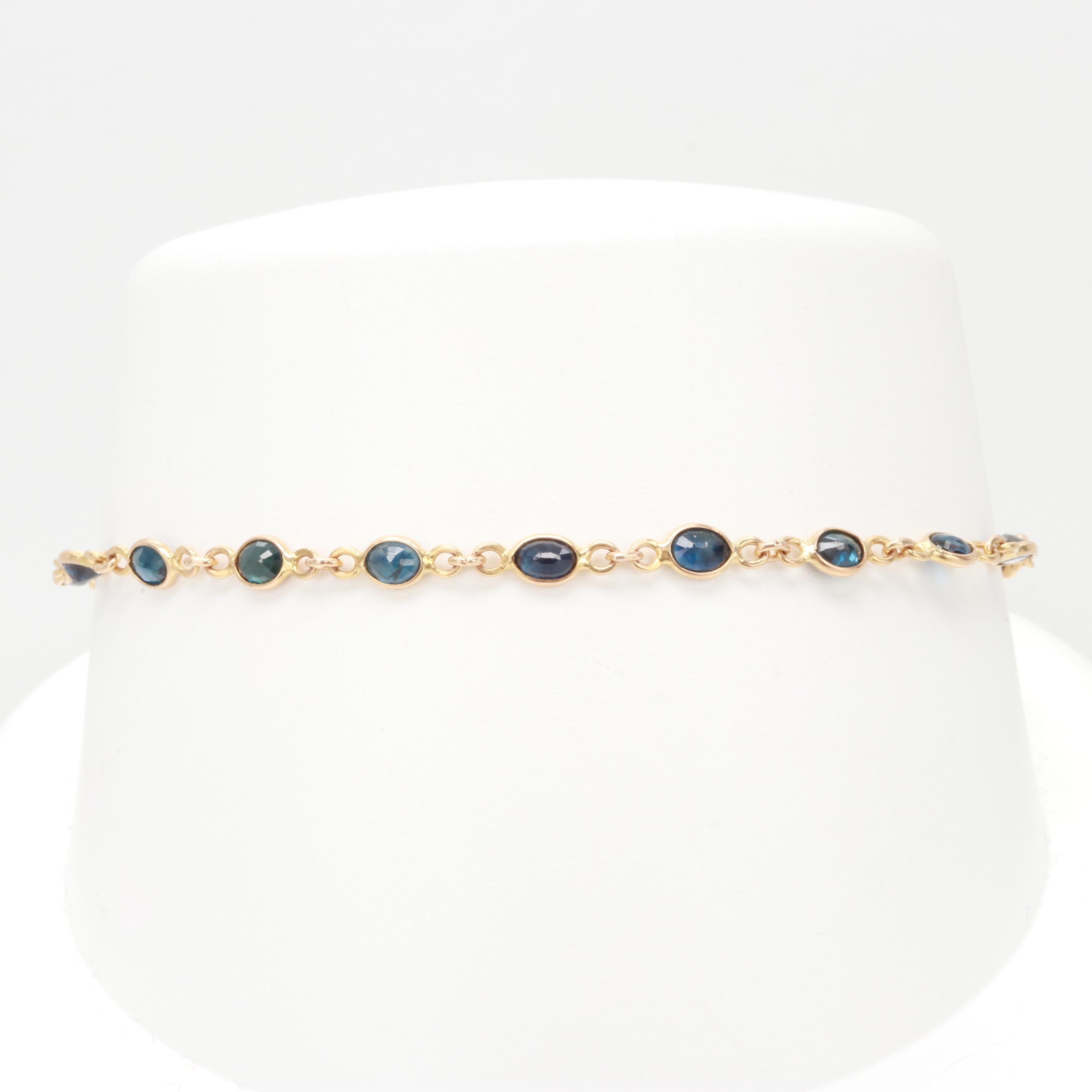 18K Yellow Gold Blue Sapphire Bracelet