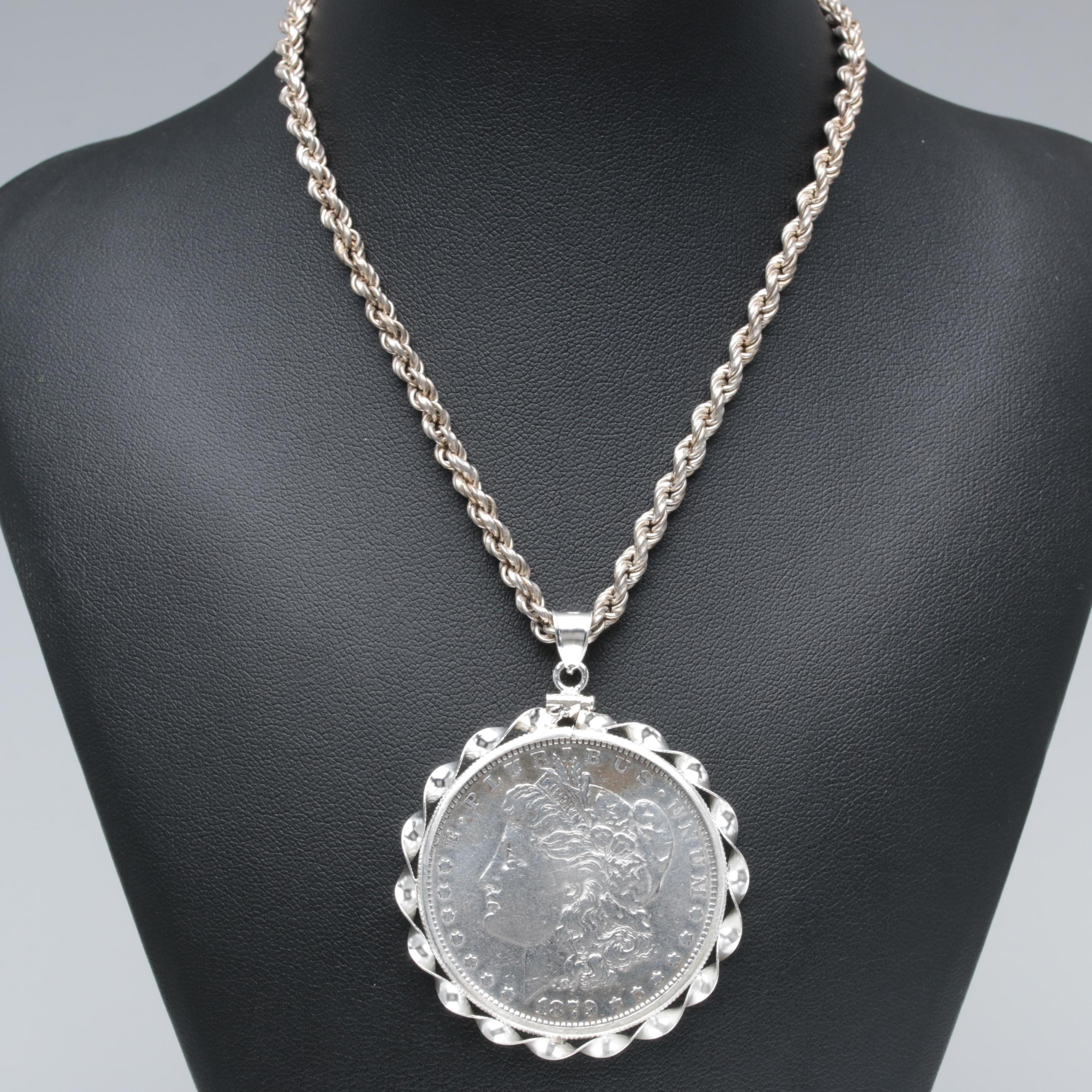 Sterling Silver Necklace with 1879 Morgan Silver Dollar