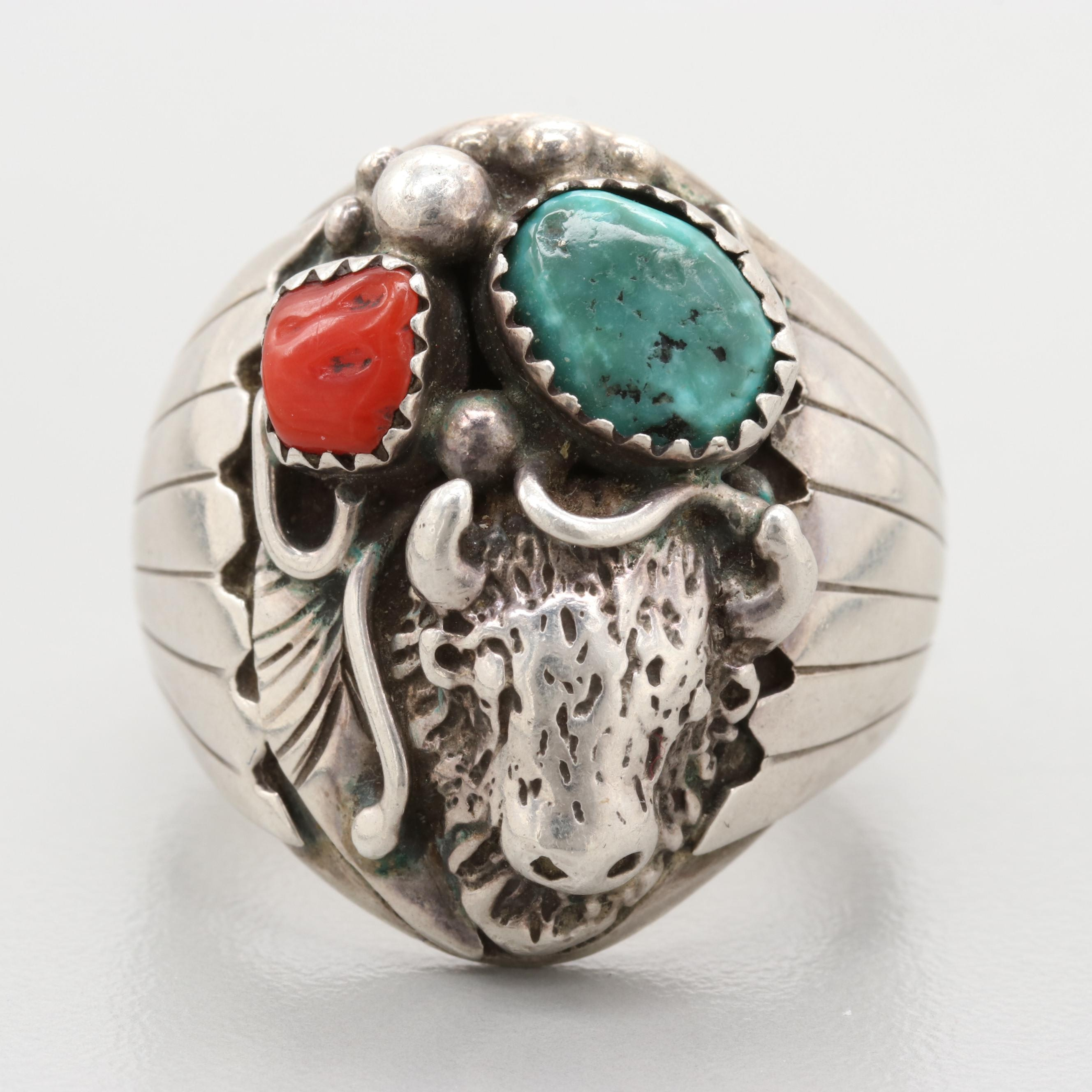 Richard and Rita Begay Navajo Diné Sterling Silver Turquoise and Coral Ring