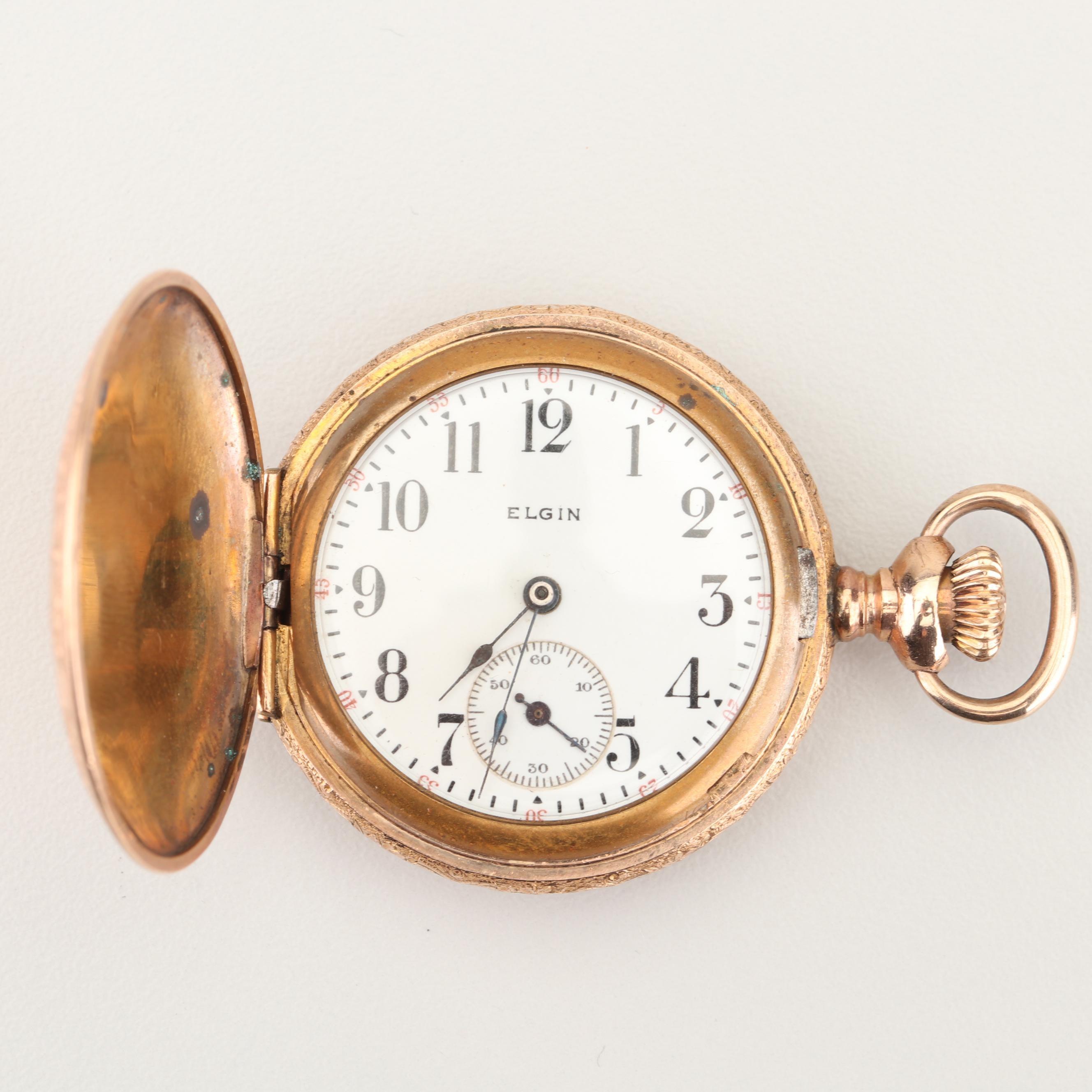 Antique Elgin Floral Motif Engraved Pocket Watch