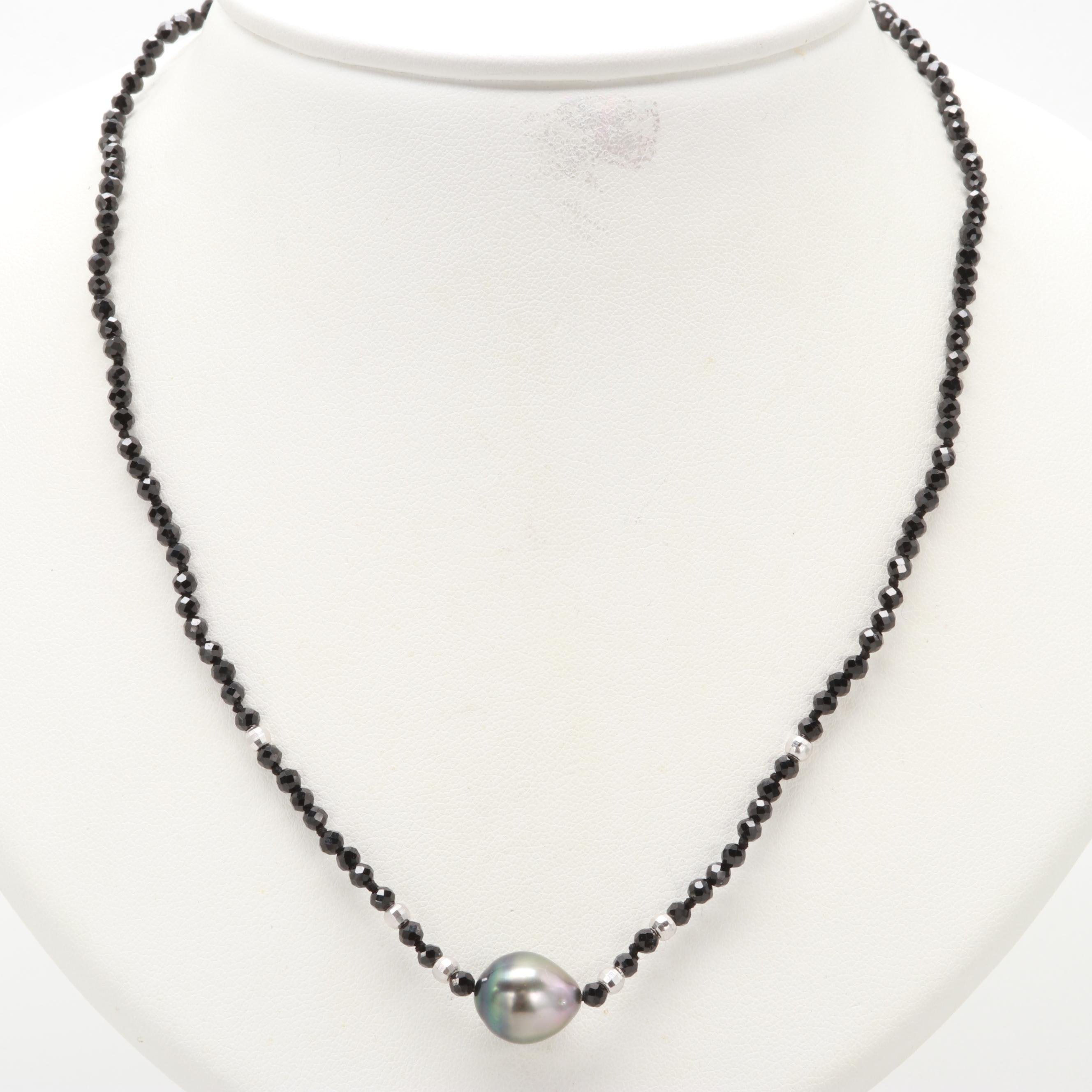 Sterling Silver Cultured Pearl and Synthetic Black Spinel Necklace