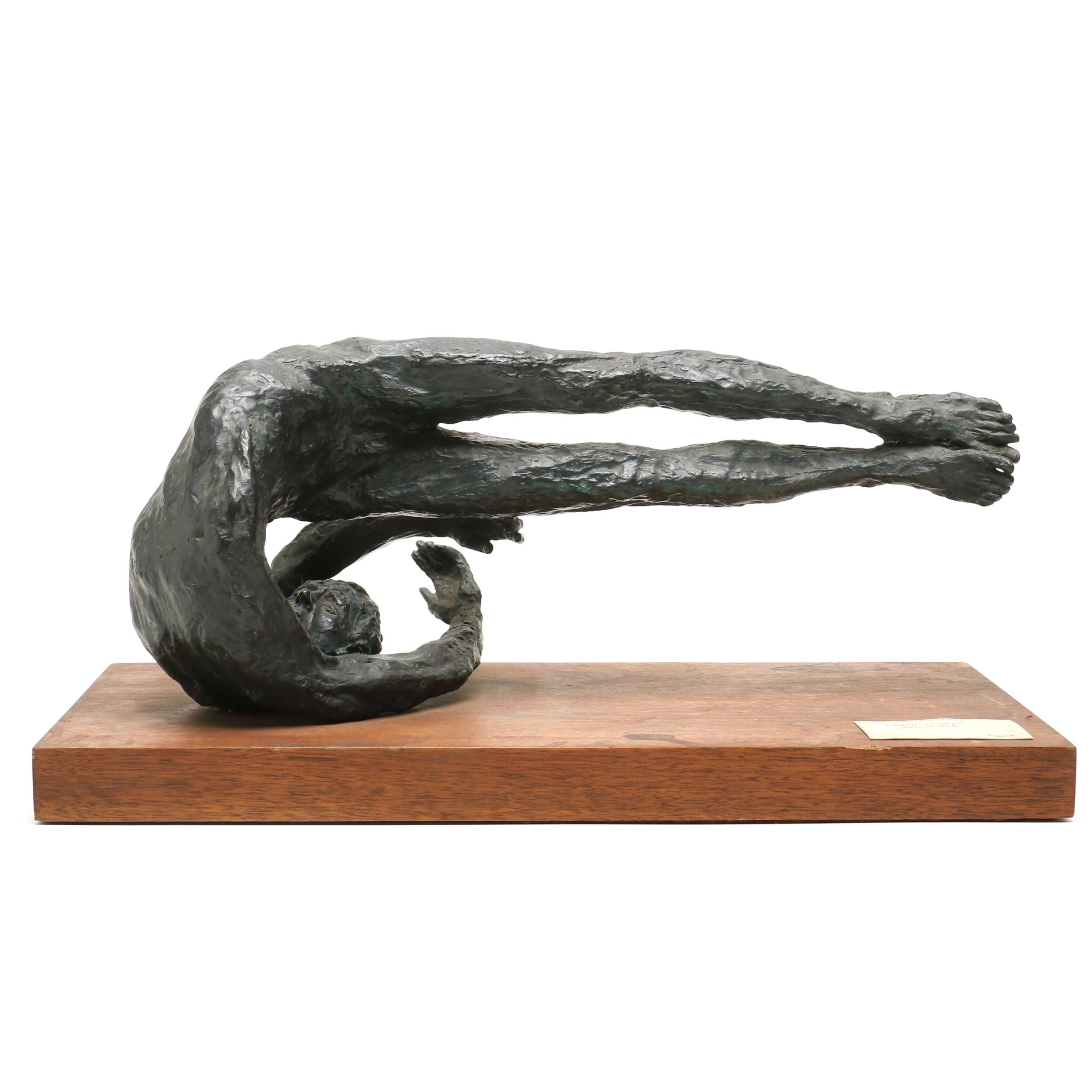 "Trevor Southey Bronze and Walnut Sculpture ""Earth Entry"""