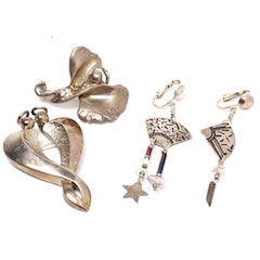 Signed Sterling Silver Convertible Pendants/Brooches and Earrings