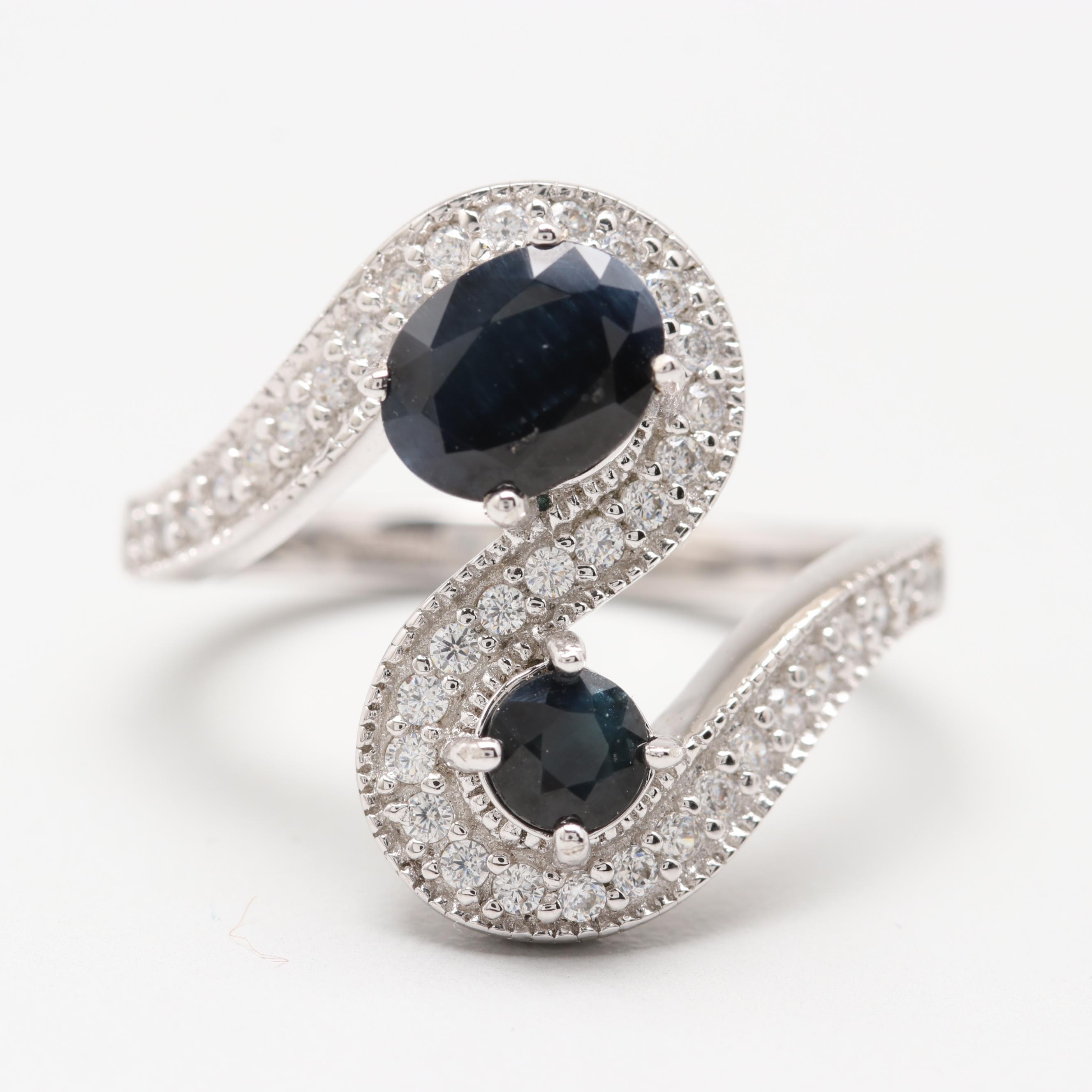 Sterling Silver Dark Blue Sapphire and Cubic Zirconia Ring