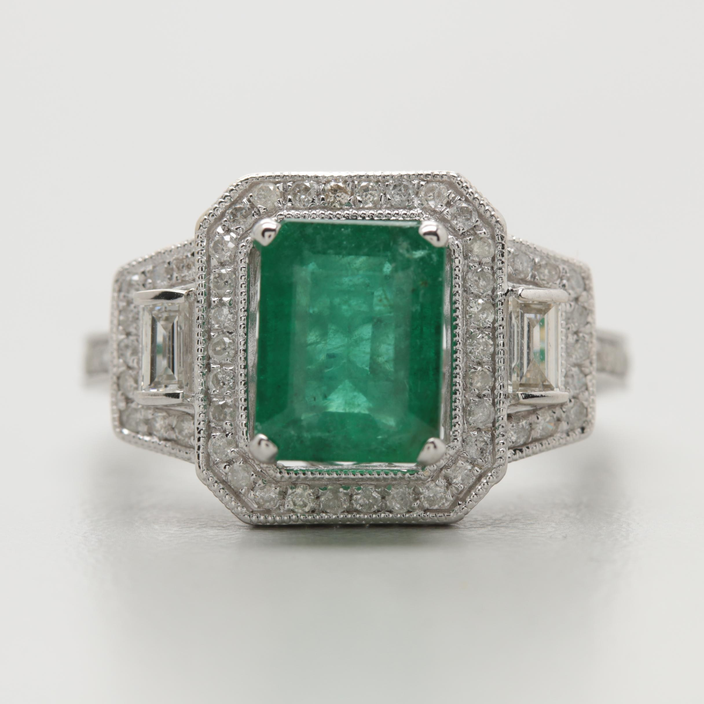 14K White Gold 1.75 CT Emerald and Diamond Ring