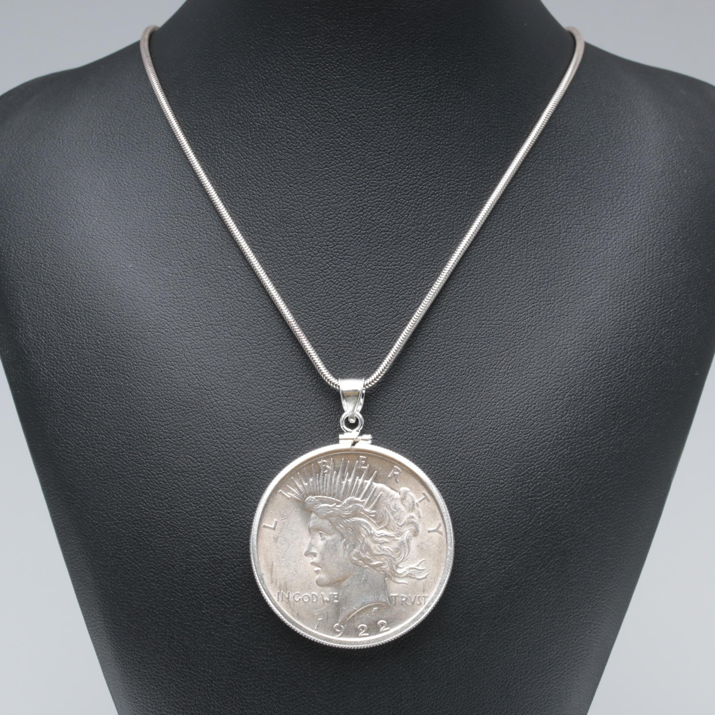 Sterling Silver Necklace with a 1922 Peace Silver Dollar