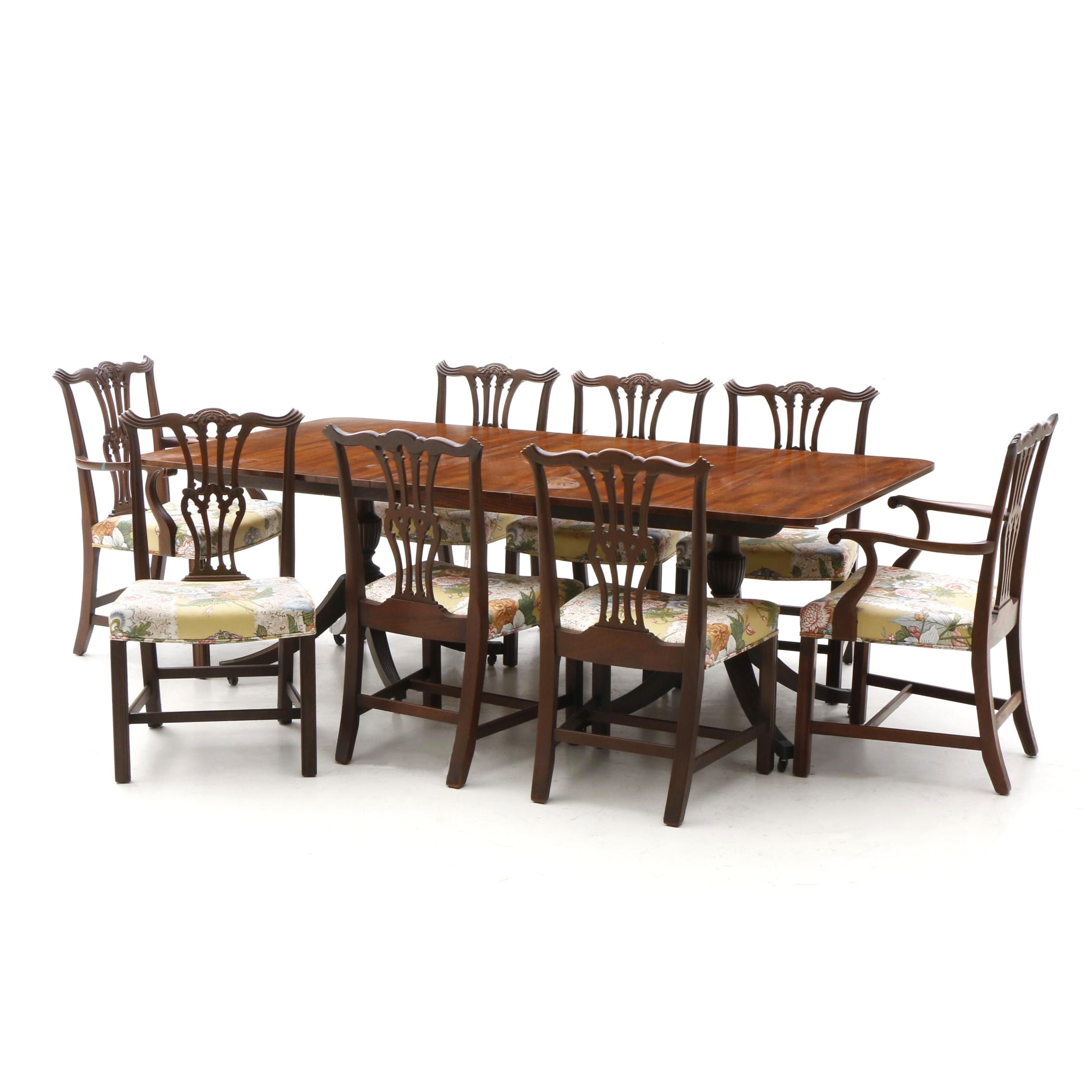 Chippendale Style Dining Table with Eight Chairs