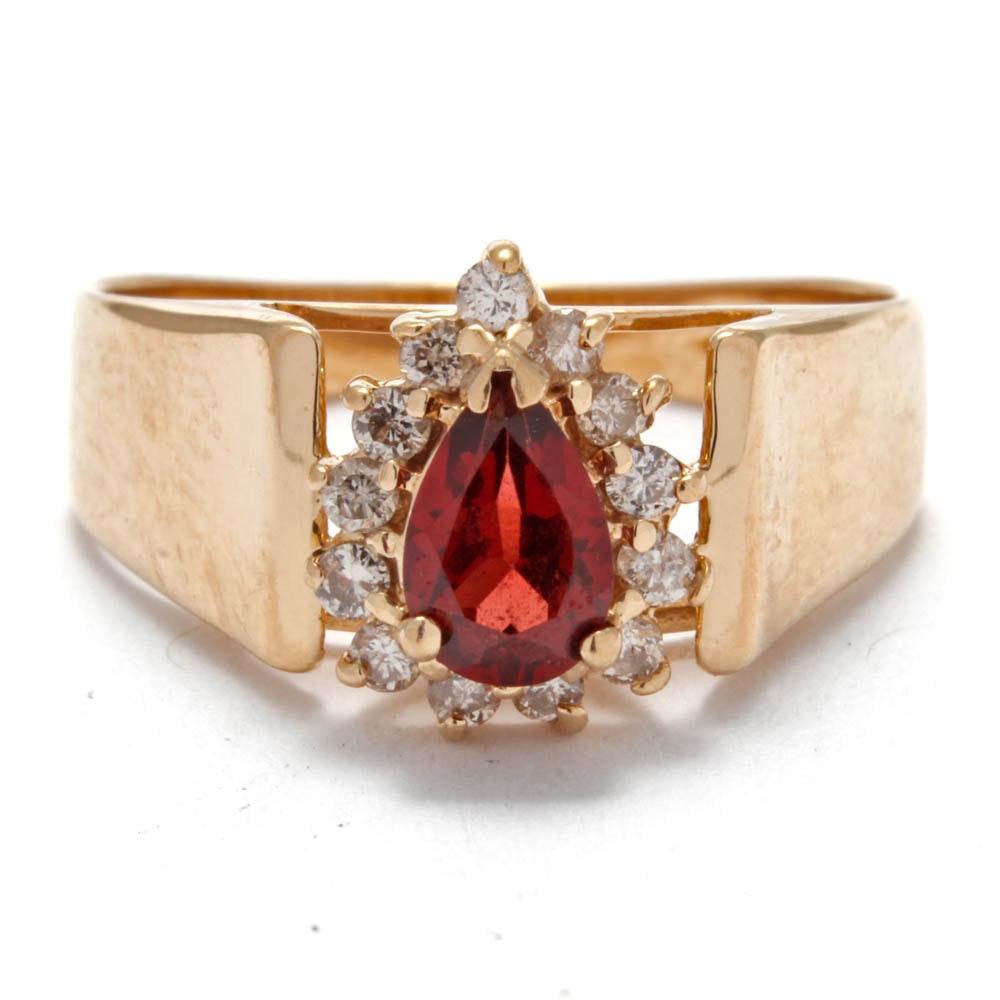 Adamor 14K Yellow Gold Garnet and Diamond Ring