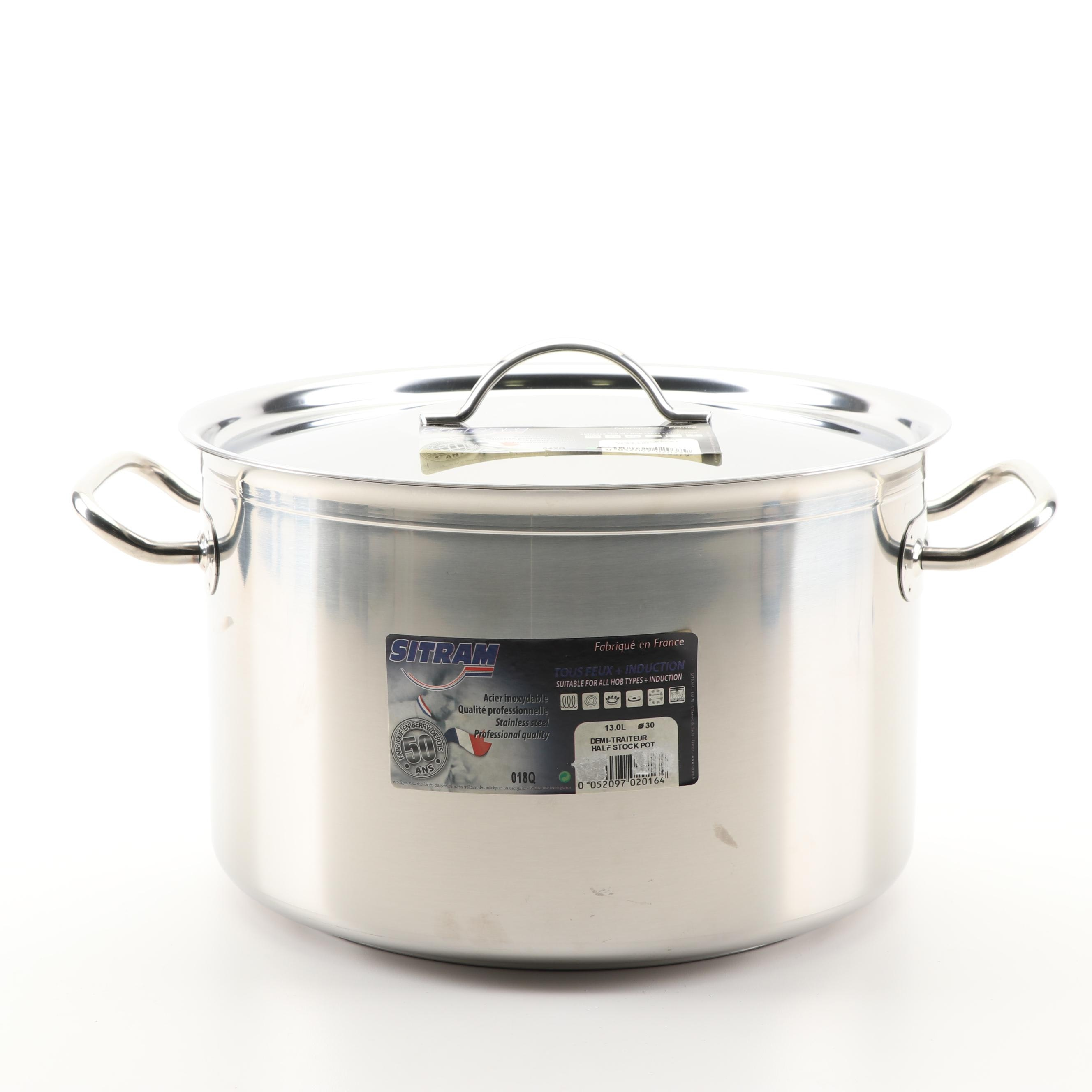 Sitram Stainless Steel Half Stockpot with Flat Lid