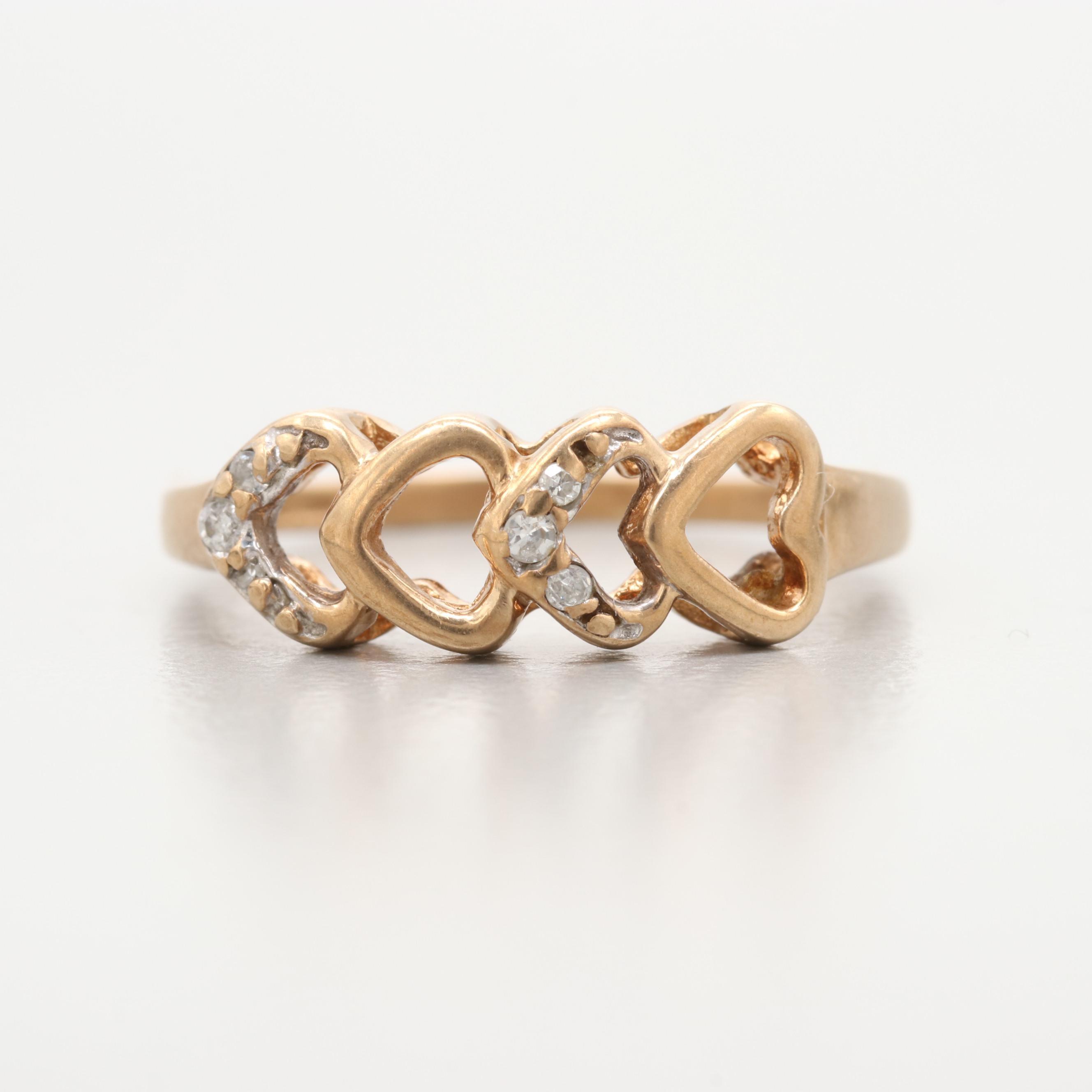 10K Yellow Gold Diamond Heart Motif Ring
