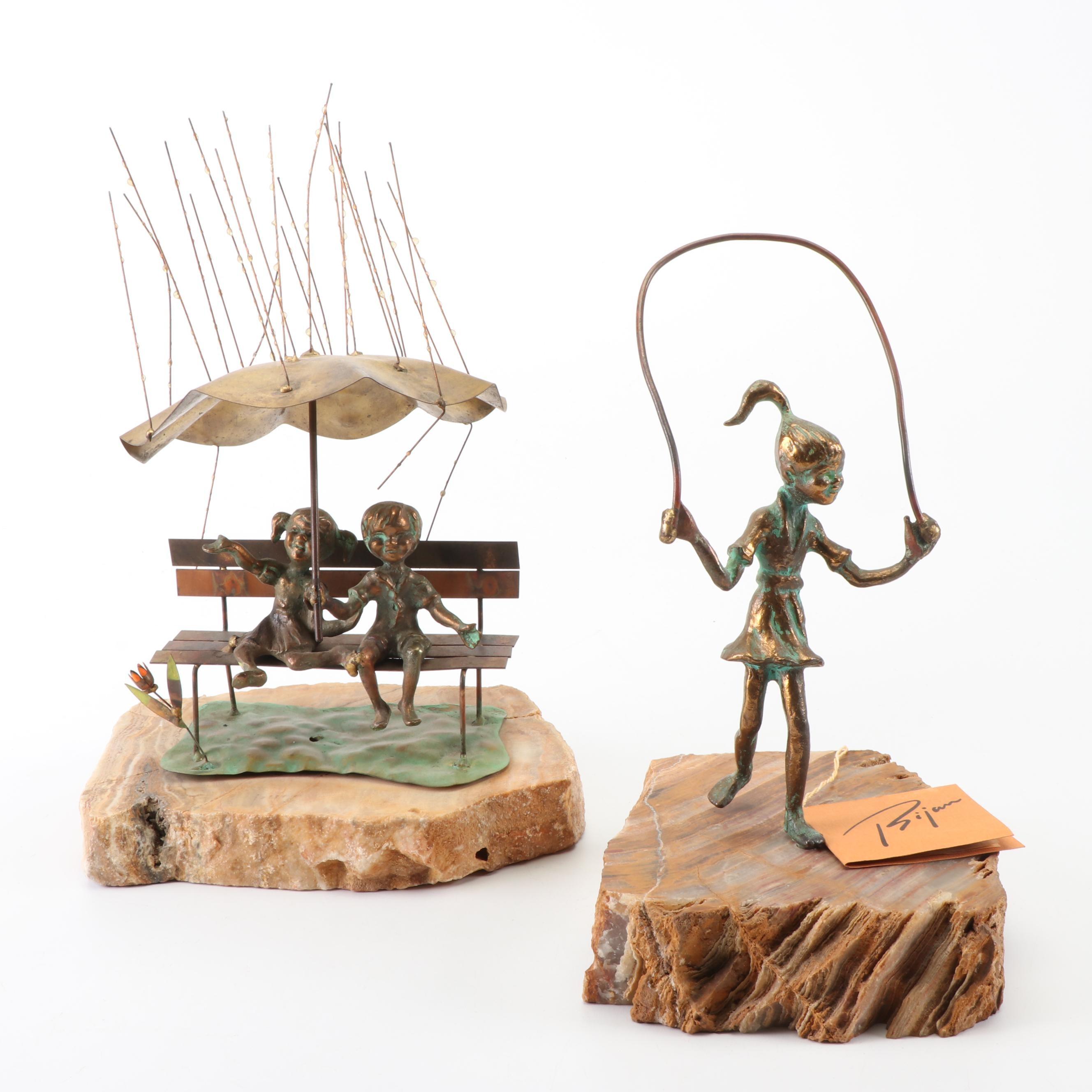 Bijan J. Bijan Brass and Copper Alloy Sculptures