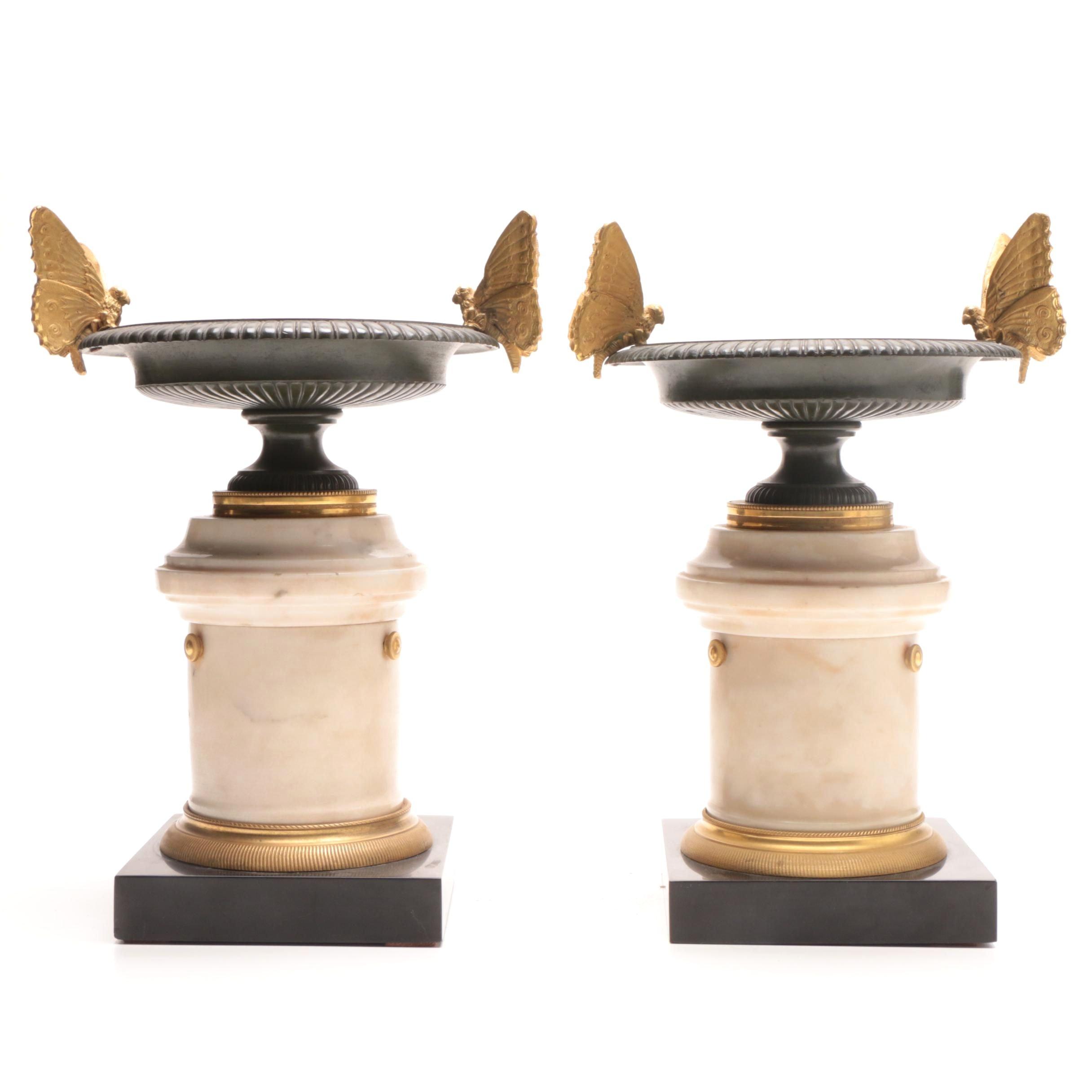 Napoleon III Bronze and Marble Garniture Tazzas
