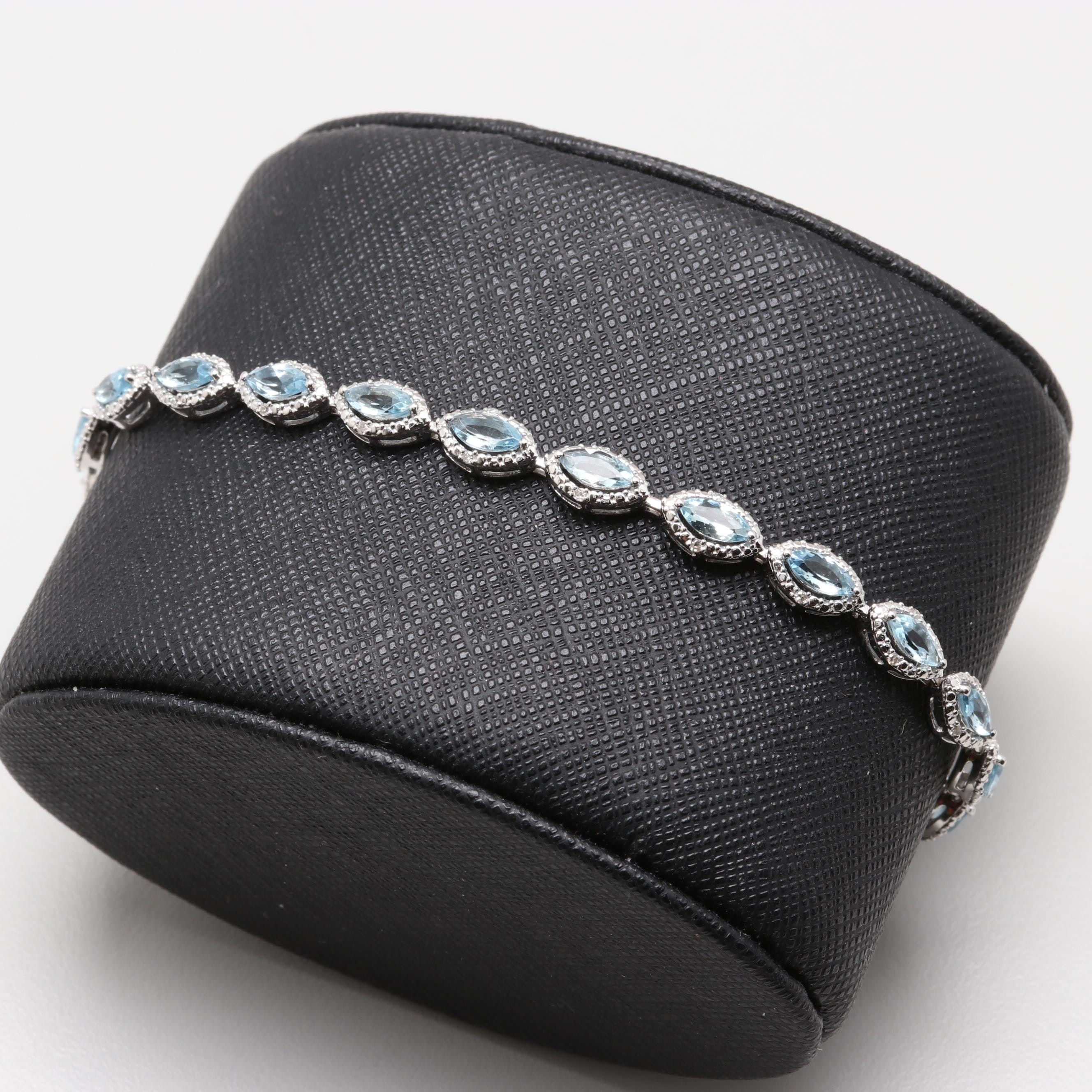 14K White Gold Aquamarine and Diamond Bracelet