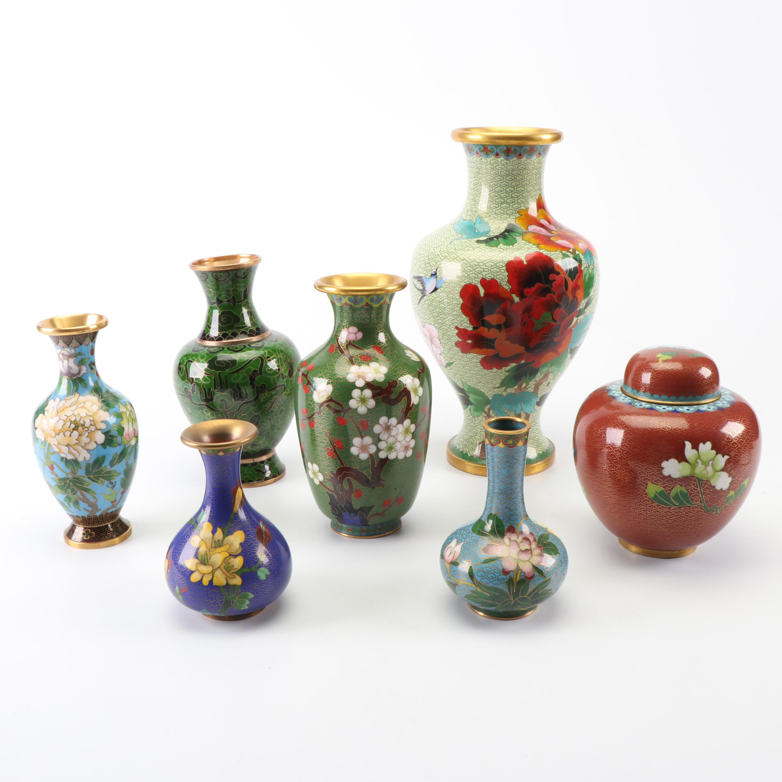Chinese Cloisonné Vases and Ginger Jar