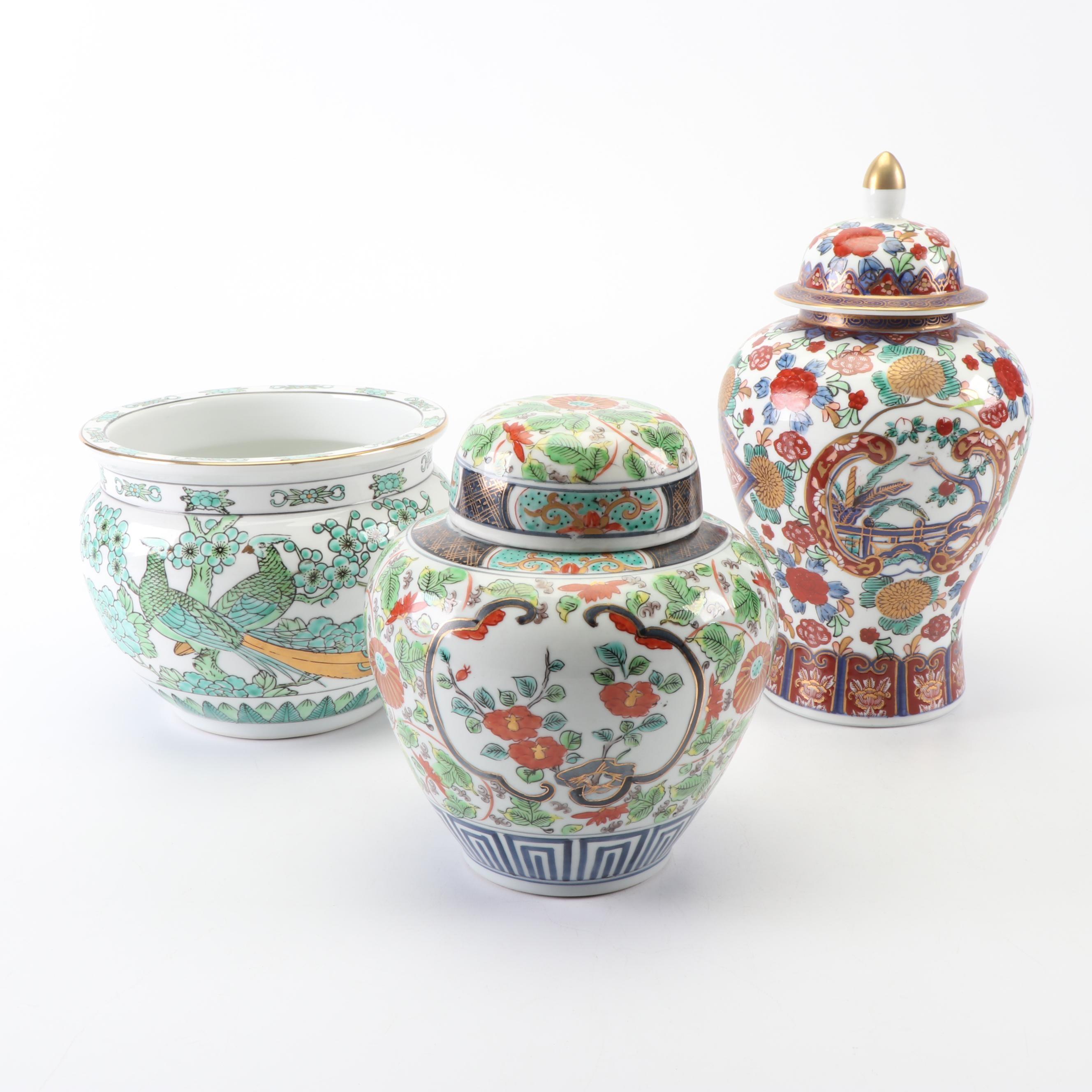LJ Japanese Porcelain Ginger Jars and Planter