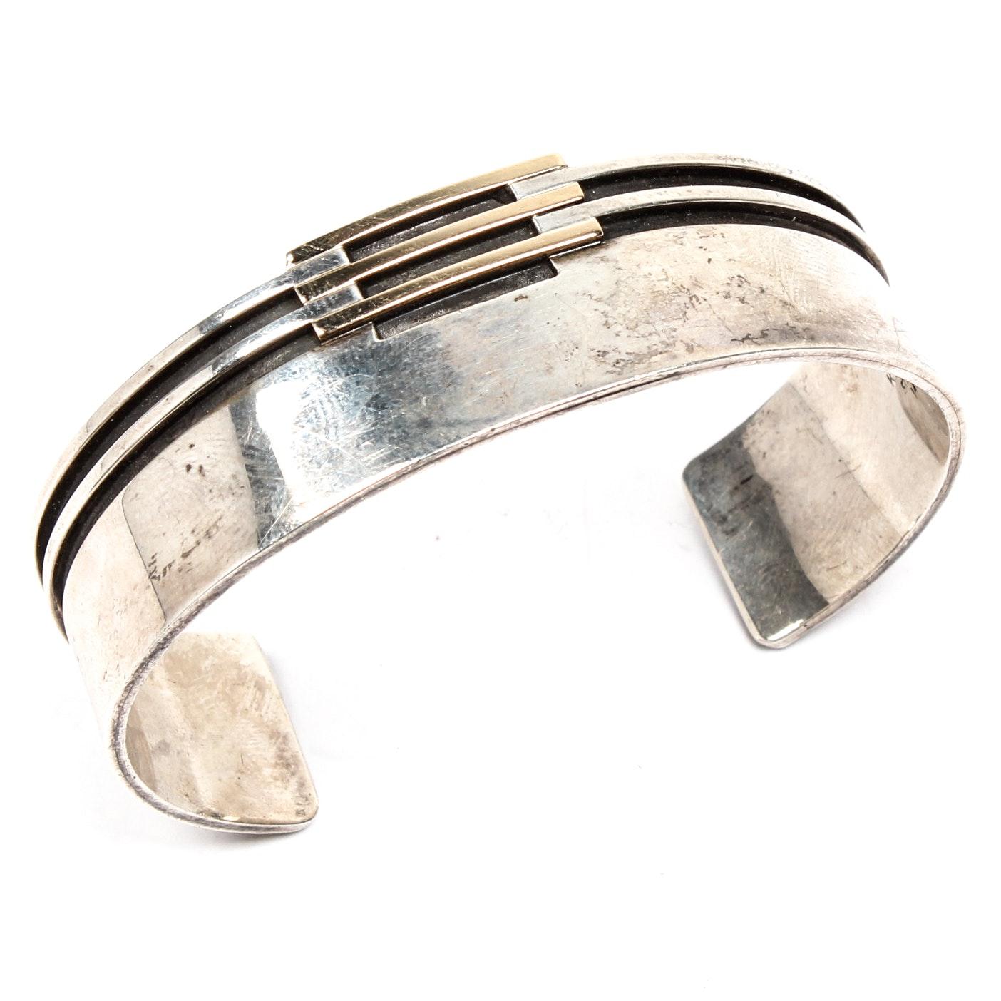 Klassen Sterling Silver and 14K Yellow Gold Bracelet