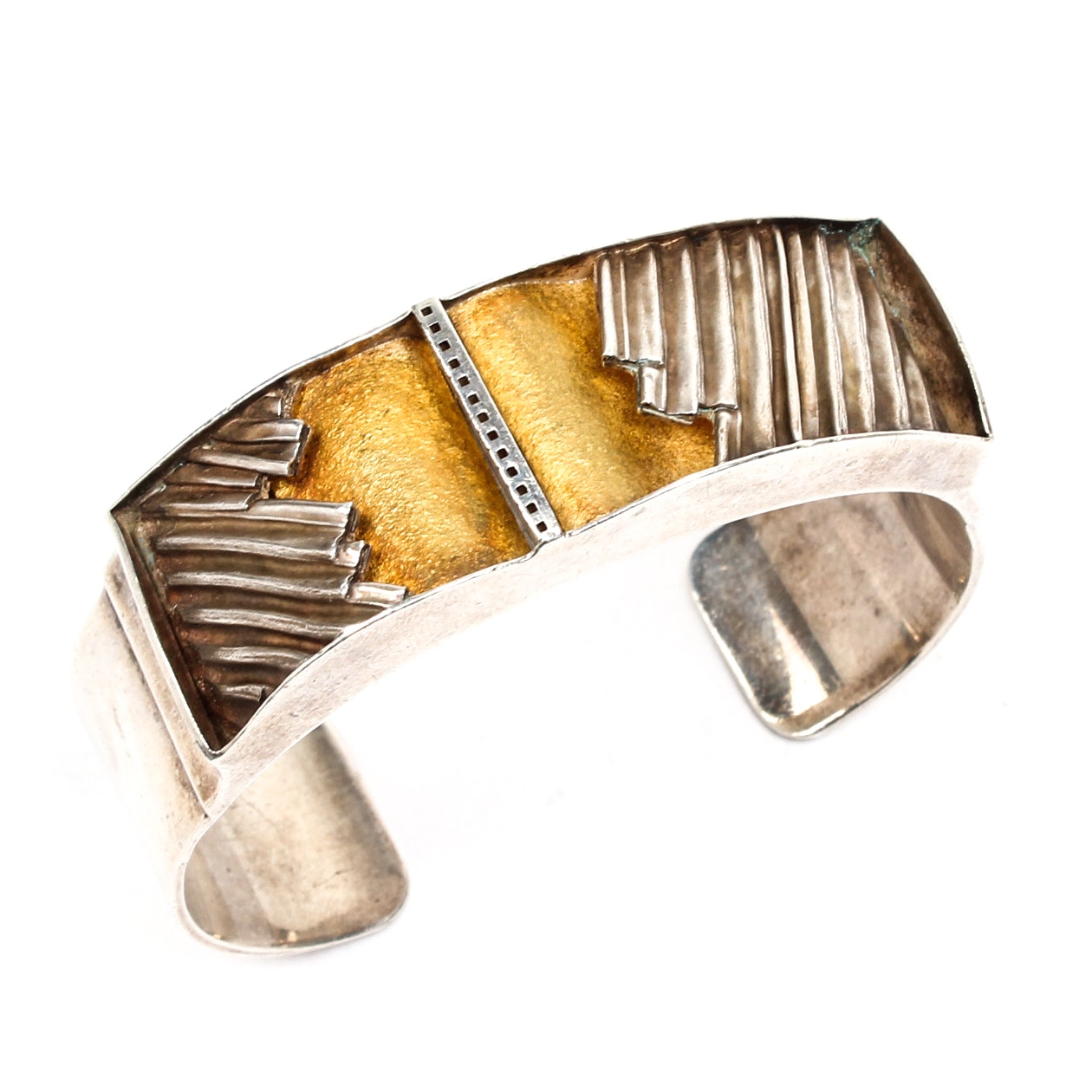 Glazner Sterling Silver and 24K Yellow Gold Bracelet