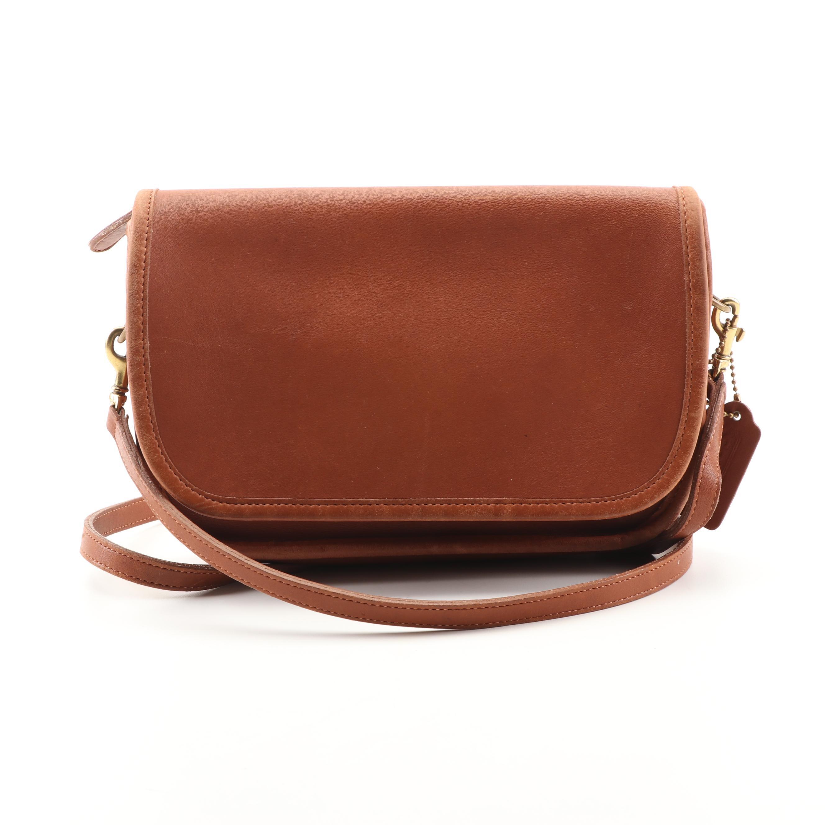 Vintage Coach Tan Leather Flap Front Handbag