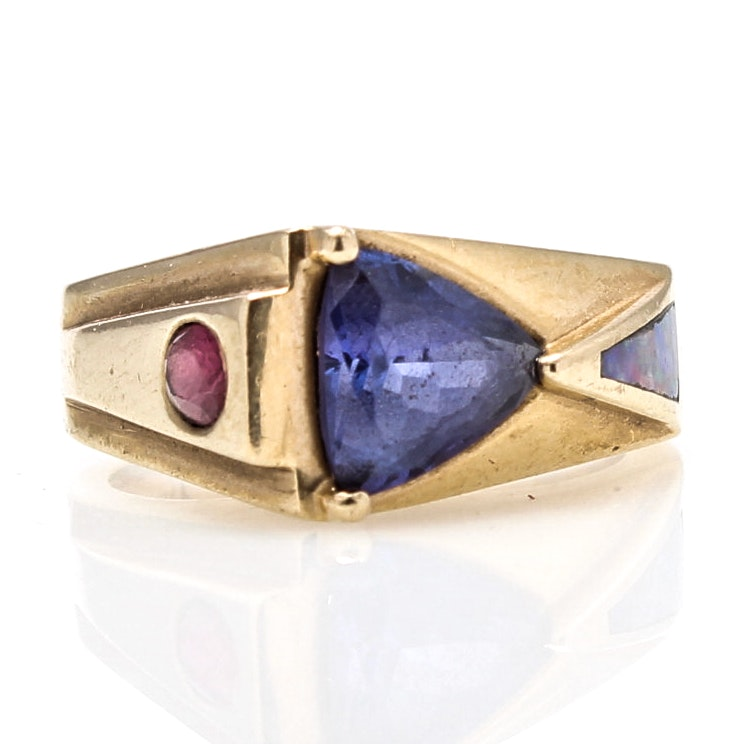 Berry 14K Yellow Gold 1.95 CT Tanzanite, Ruby, Opal Ring