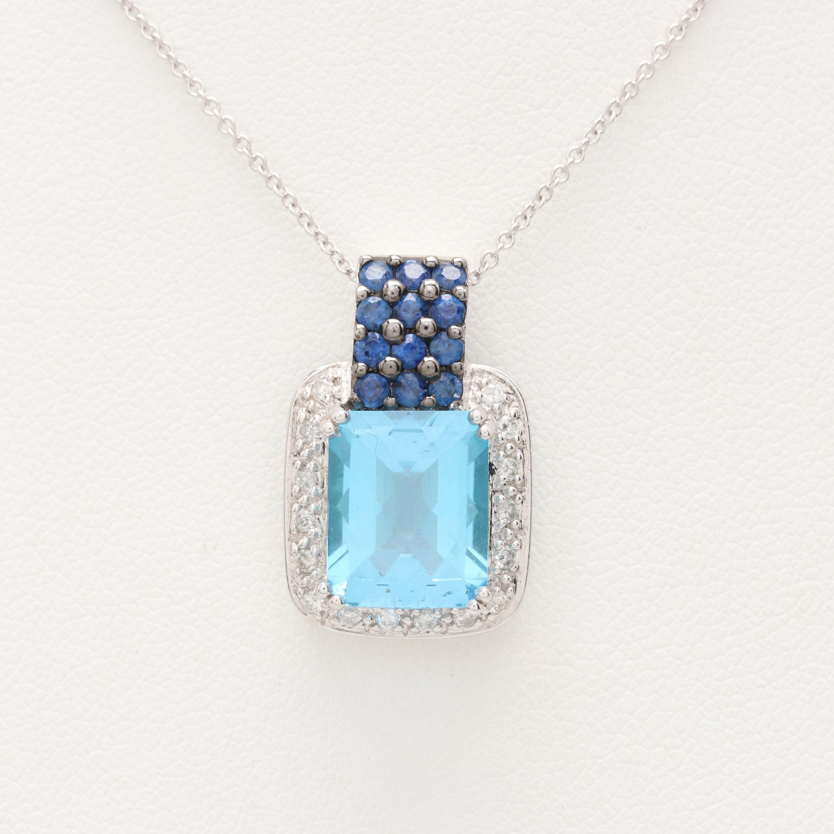 14K and 18K White Gold Blue Topaz, Sapphire and Diamond Necklace