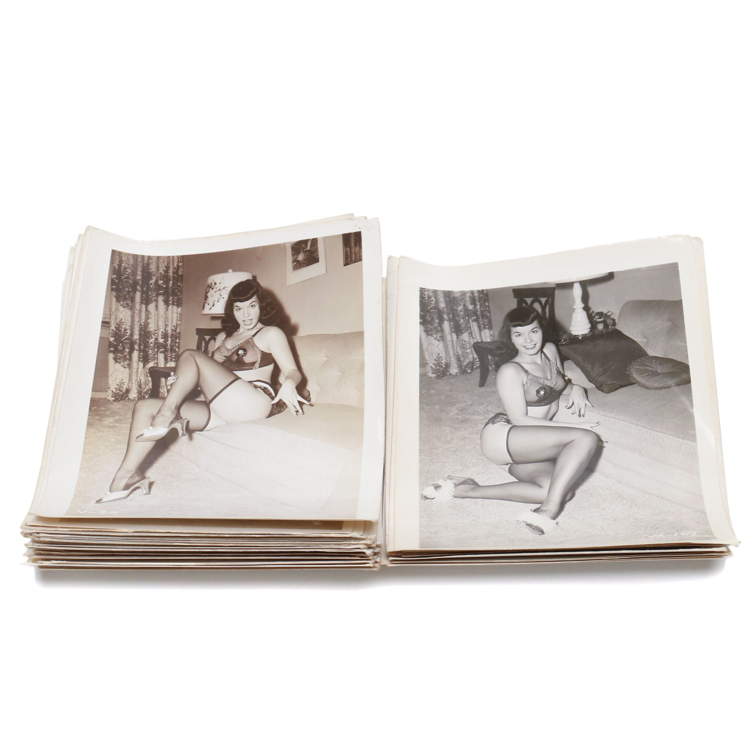 "1950s Model and ""Pin-Up Queen"" Bettie Page Original Semi-Nude Photographs"