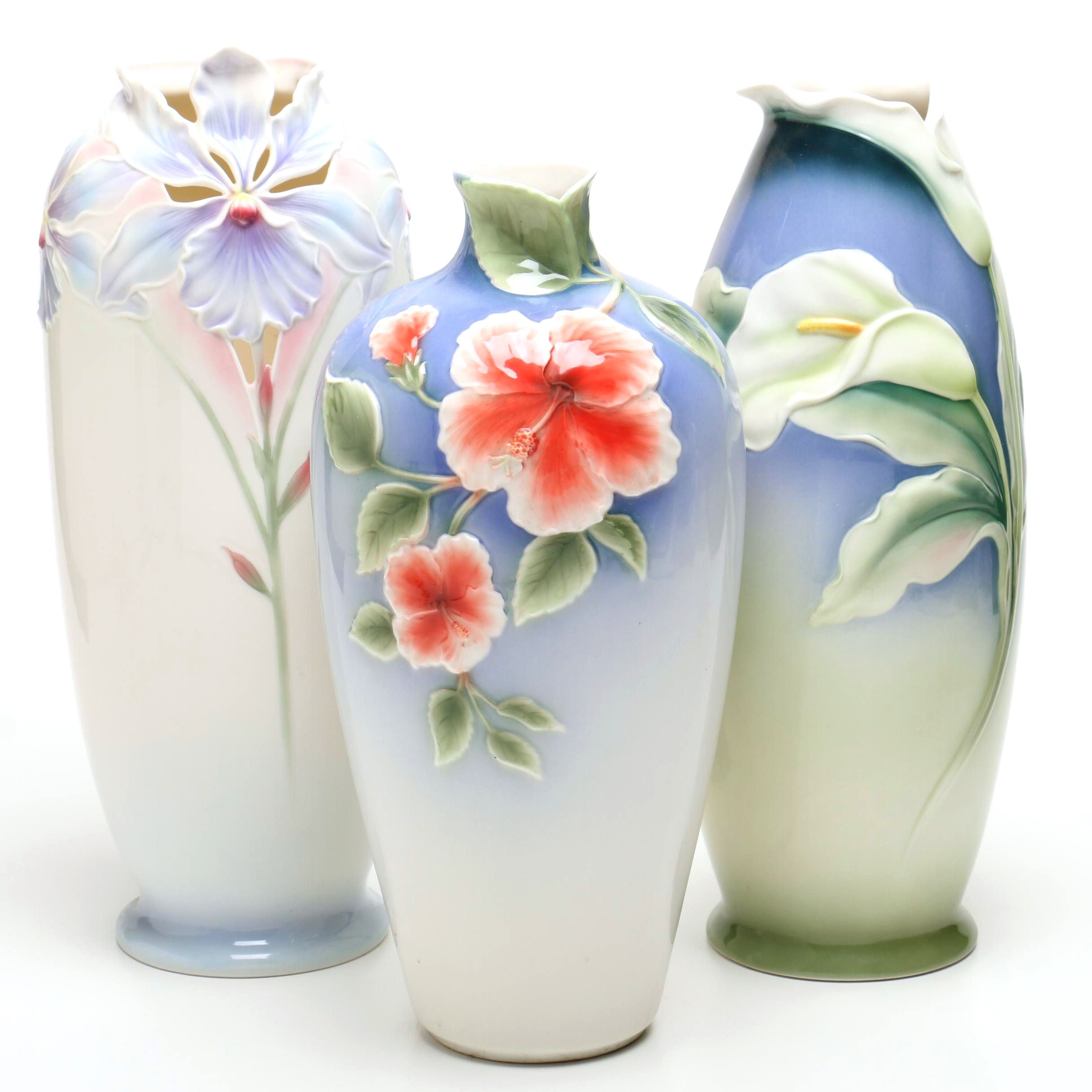 Tall Porcelain Franz Collection Vases