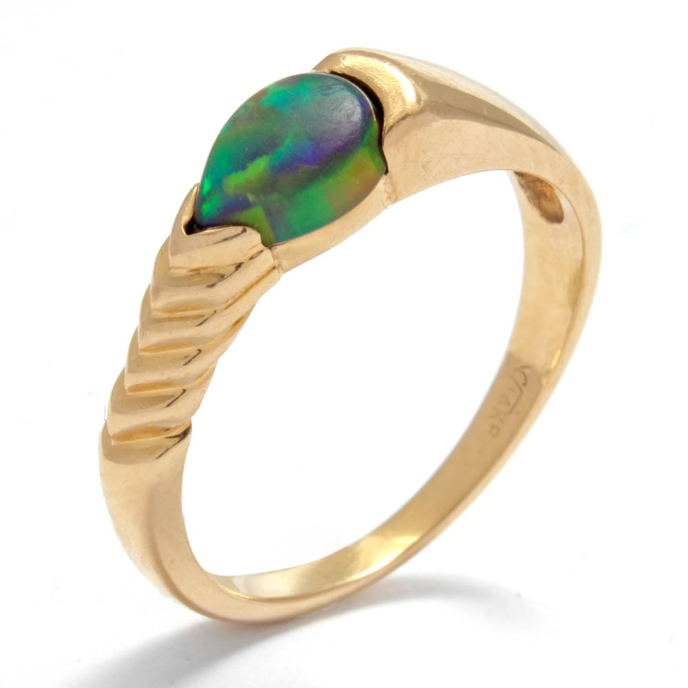 14K Yellow Gold and Black Opal Ring
