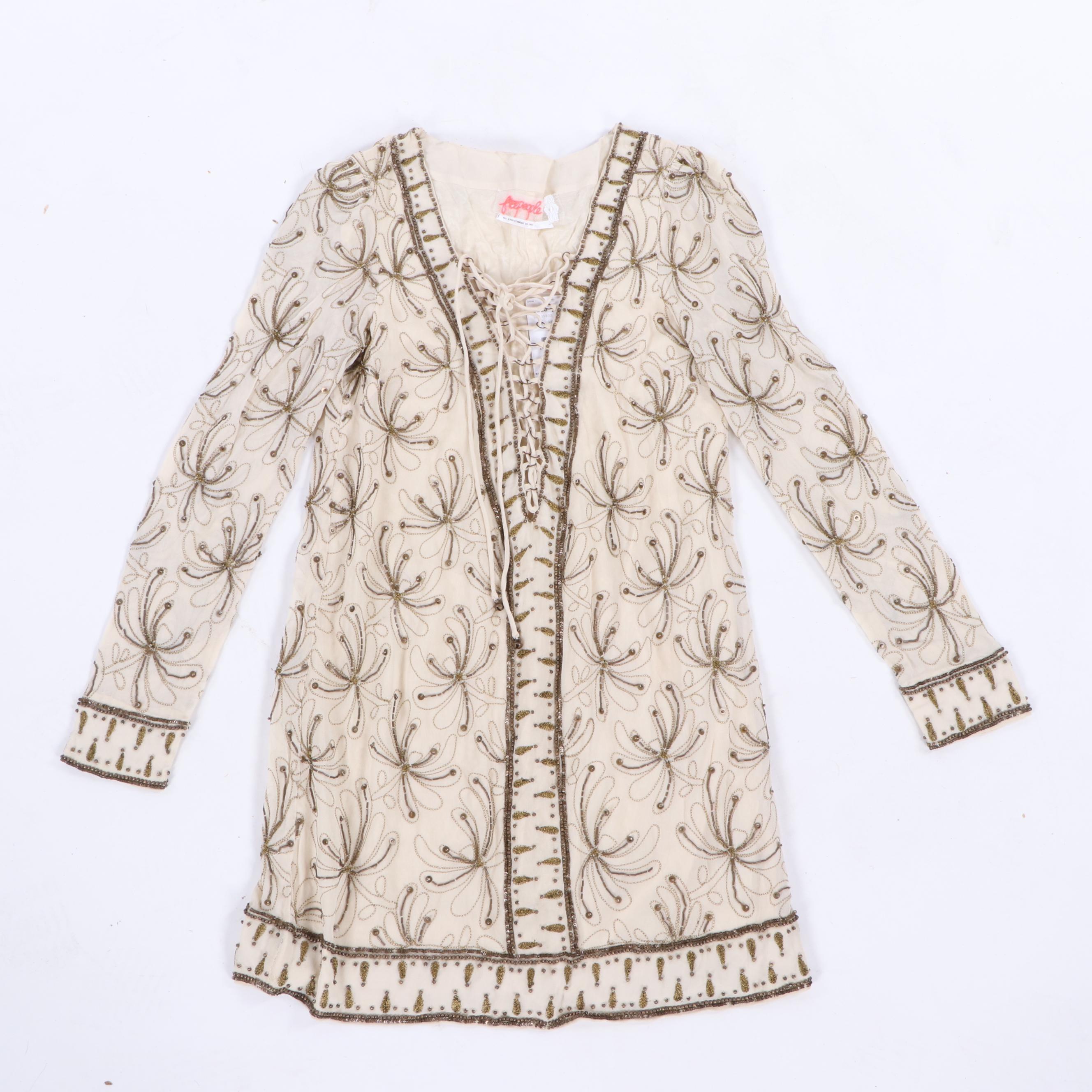 Vintage Free People Ivory-Colored Embellished Dress