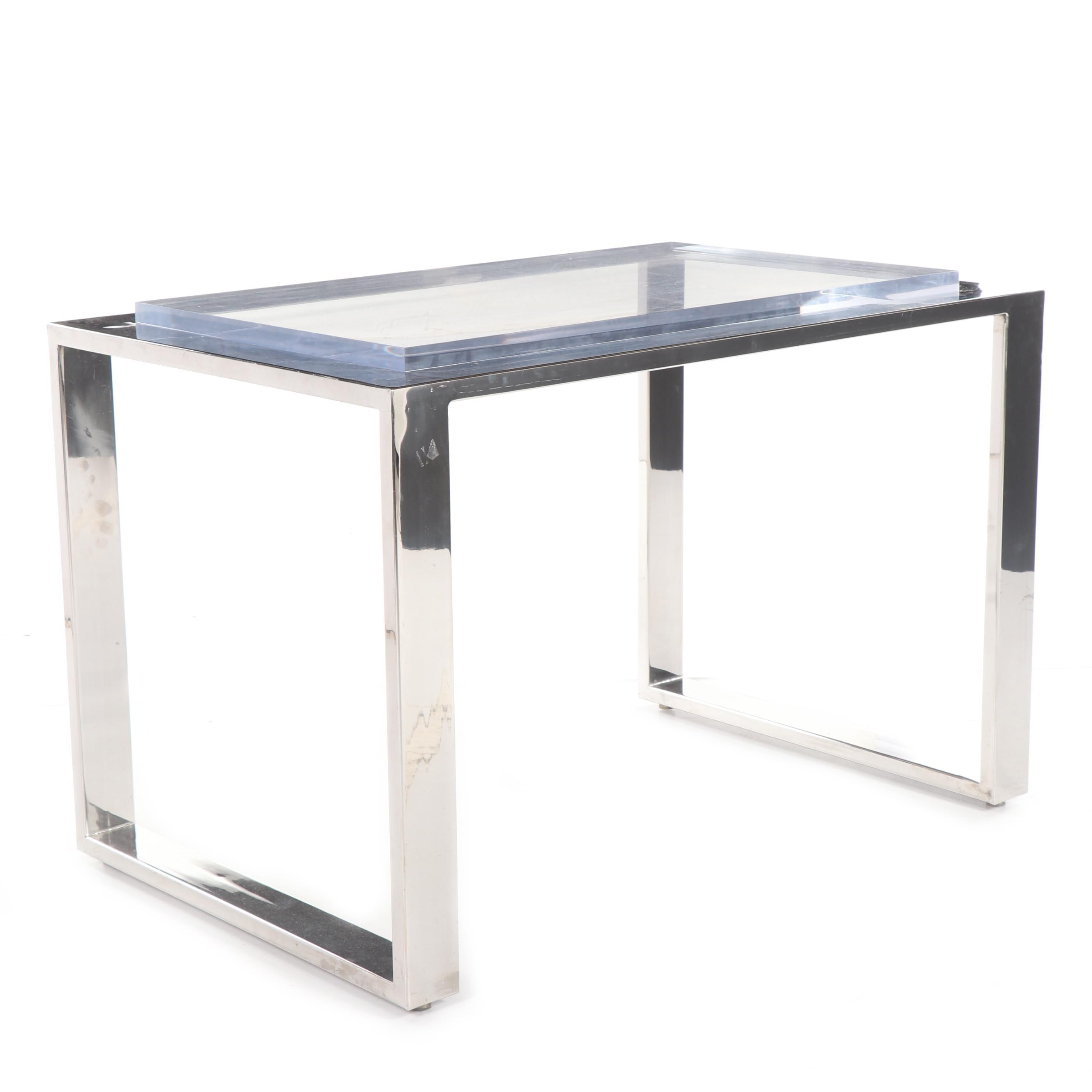 Mid Century Modern Style Chrome and Acrylic Writing Table, 20th Century