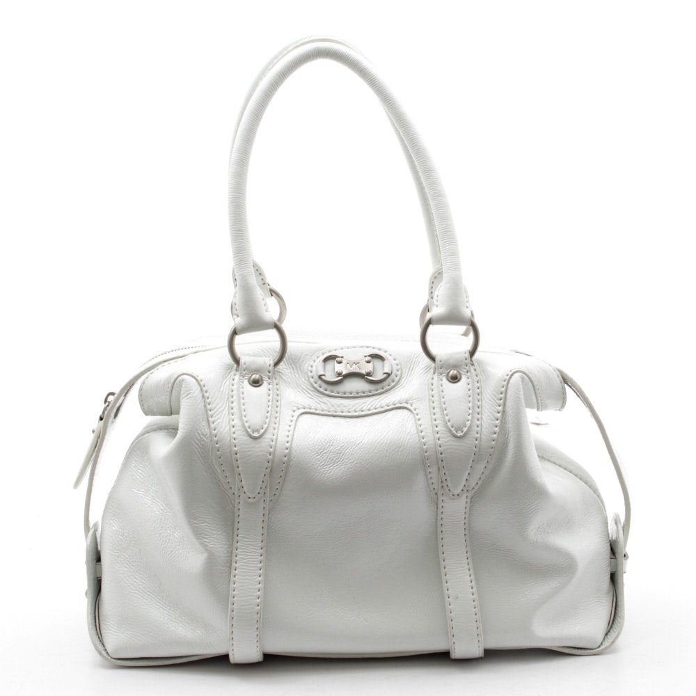 Michael Kors White Patent Leather Satchel with Shoulder Strap