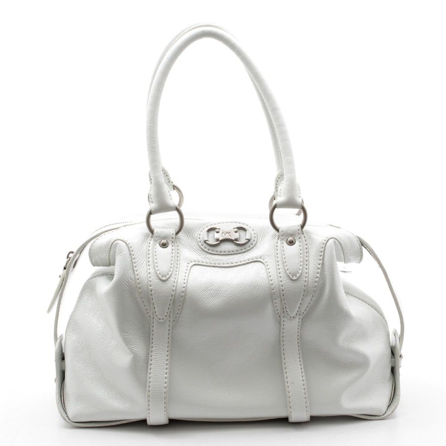 748891977383 Michael Kors White Patent Leather Satchel with Shoulder Strap : EBTH