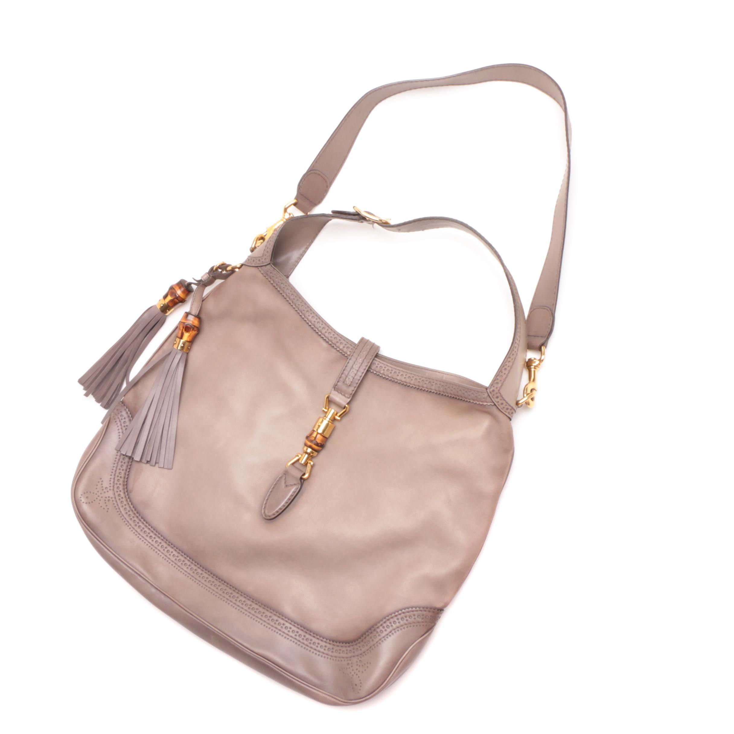 Gucci Gray Calfskin Duilio Brogue Large New Jackie Shoulder Bag