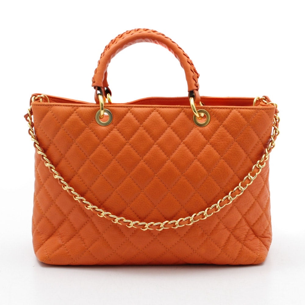 Lavorazione Artigianale Quilted Leather Shoulder Bag in Persimmon, Made in Italy