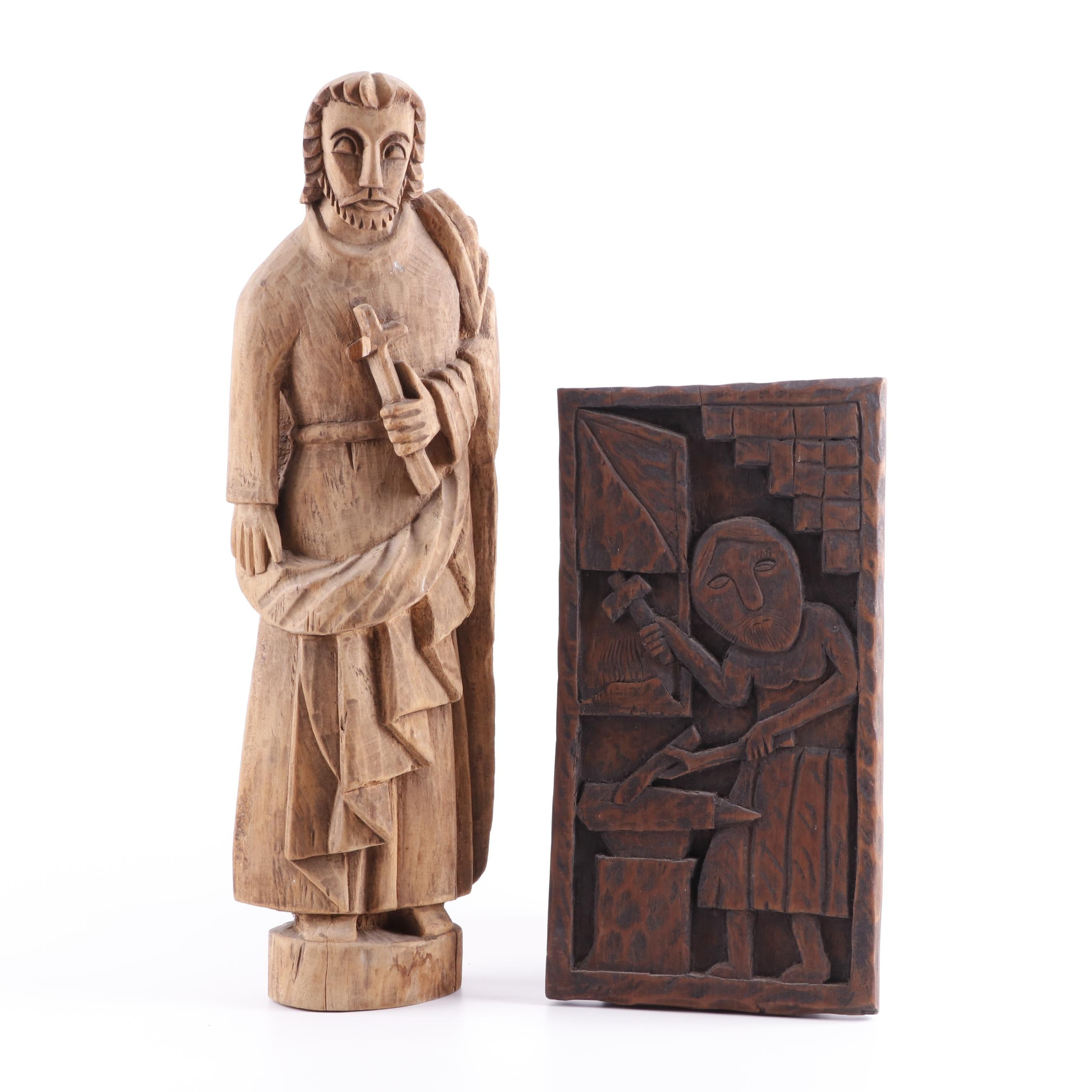 Wood Sculpture of a Male Saint and Carved Wood Plaque of Blacksmith