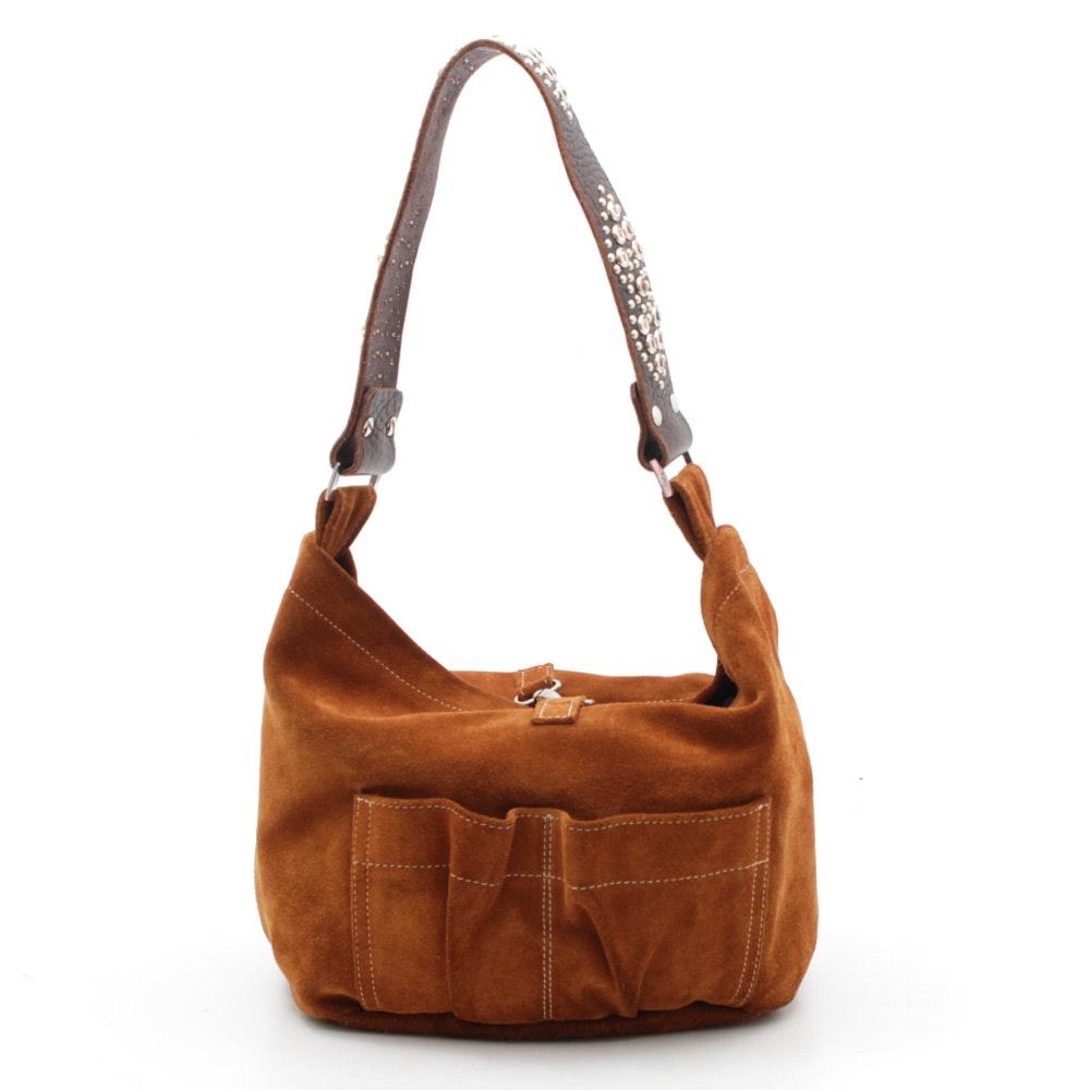 Tylie Malibu Suede and Embellished Leather Shoulder Bag